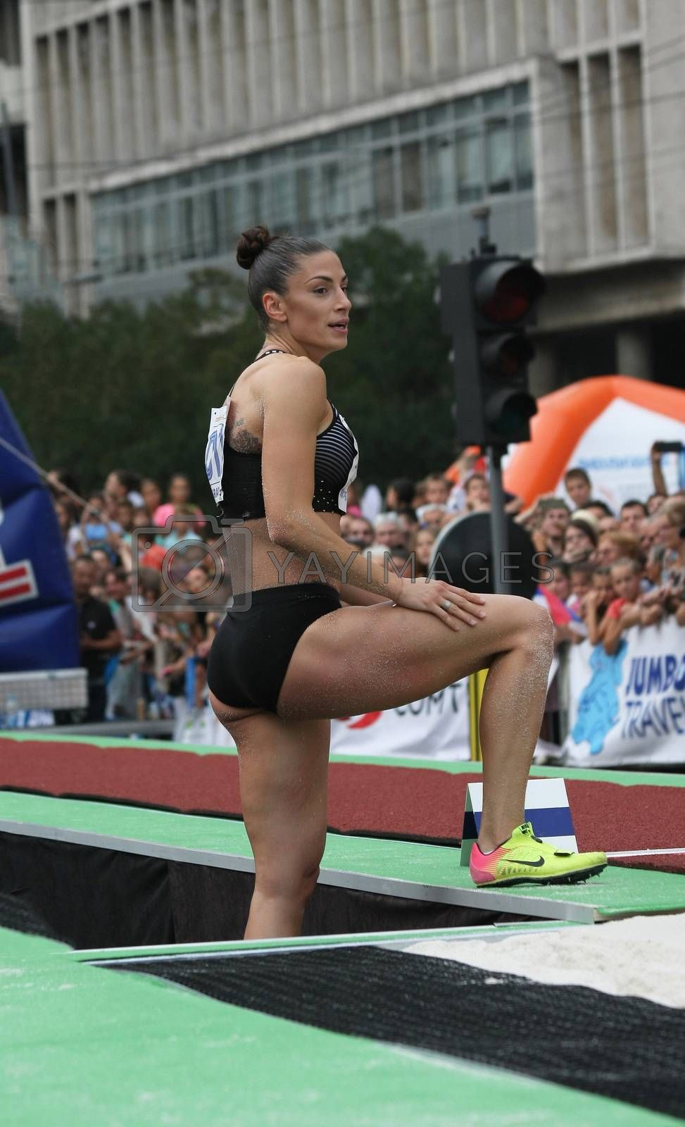 BELGRADE,SERBIA - SEPTEMBER 11 , 2016: Ivana Spanovic waiting for result after her jump at long jump competition as promotion of European athletics indoors championship which will be held from 3-5.March ,2017 in Belgrade,Serbia