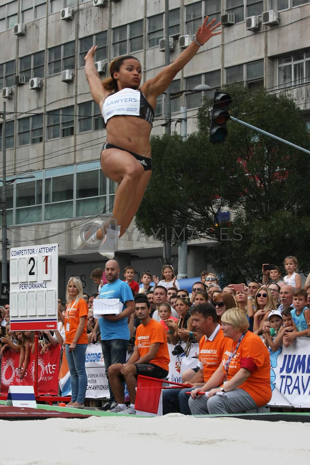 BELGRADE,SERBIA - SEPTEMBER 11 , 2016: Jazmin Sawyers jumping at long jump competition as promotion of European athletics indoors championship which will be held from 3-5.March ,2017 in Belgrade,Serbia