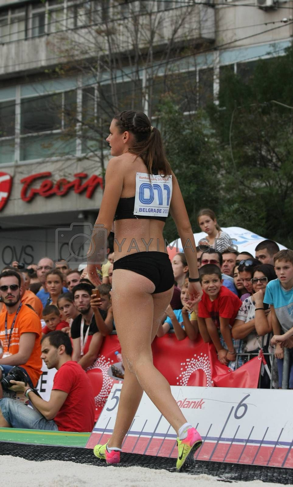 BELGRADE,SERBIA - SEPTEMBER 11 , 2016: Erica Jarder after her jump at long jump competition as promotion of European athletics indoors championship which will be held from 3-5.March ,2017 in Belgrade,Serbia