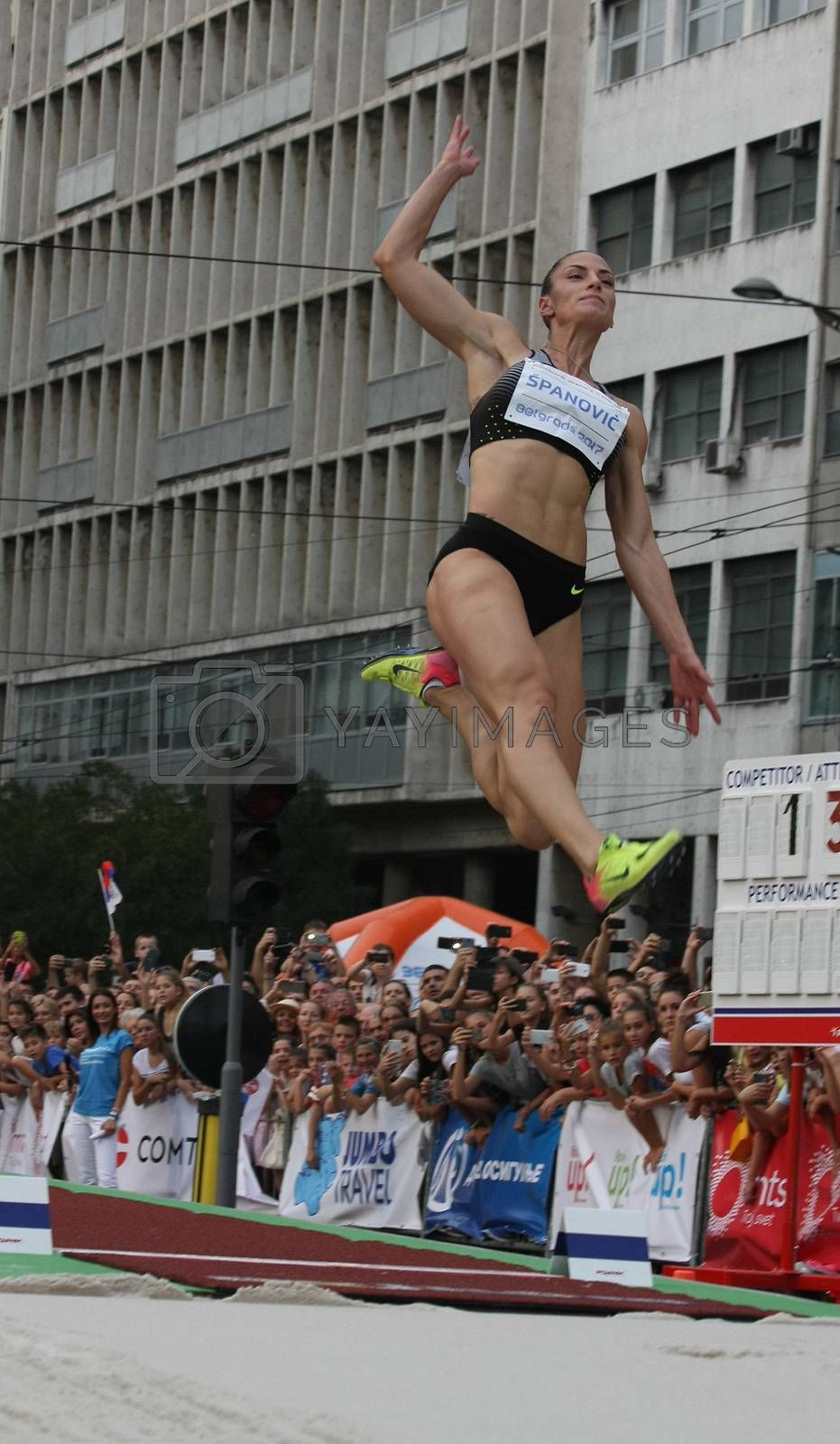 BELGRADE,SERBIA - SEPTEMBER 11 , 2016: Ivana Spanovic jumping at long jump competition as promotion of European athletics indoors championship which will be held from 3-5.March ,2017 in Belgrade,Serbia