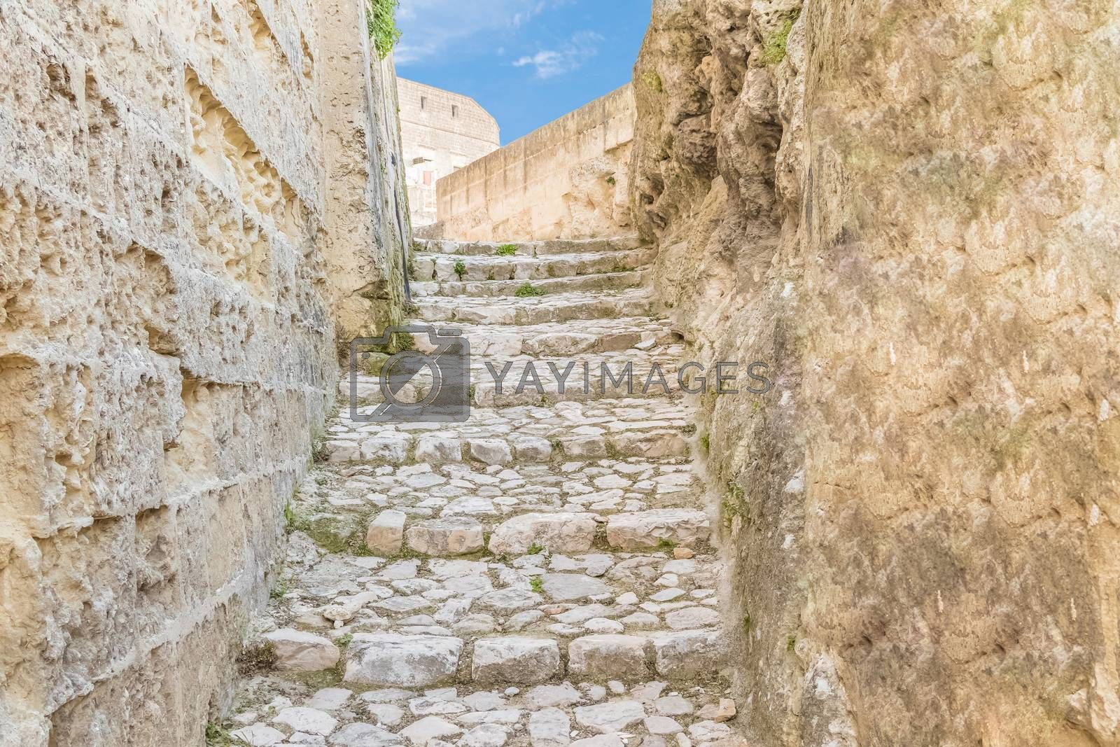 old stairs of stones, the historic building near Matera in Italy UNESCO European Capital of Culture 2019, details of old stairs
