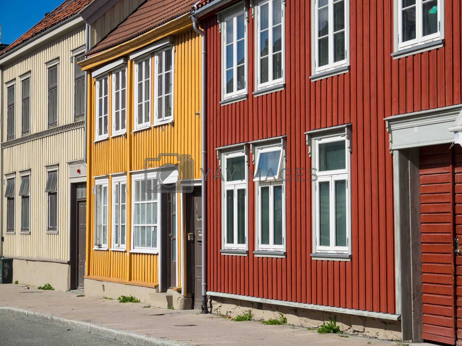Traditional, wooden Norwegian townhouses in the city of Trondheim, Norway.