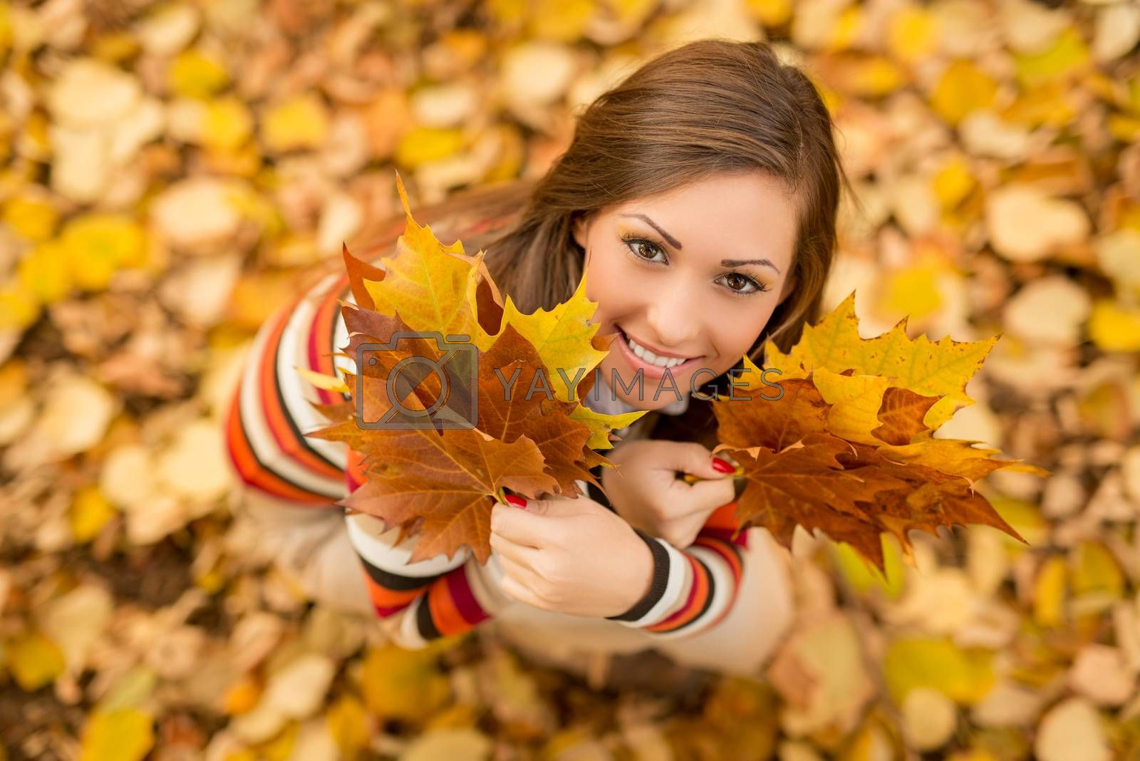 Beautiful young woman enjoying in sunny forest in autumn colors. She is holding golden yellow leaves. Looking at camera.