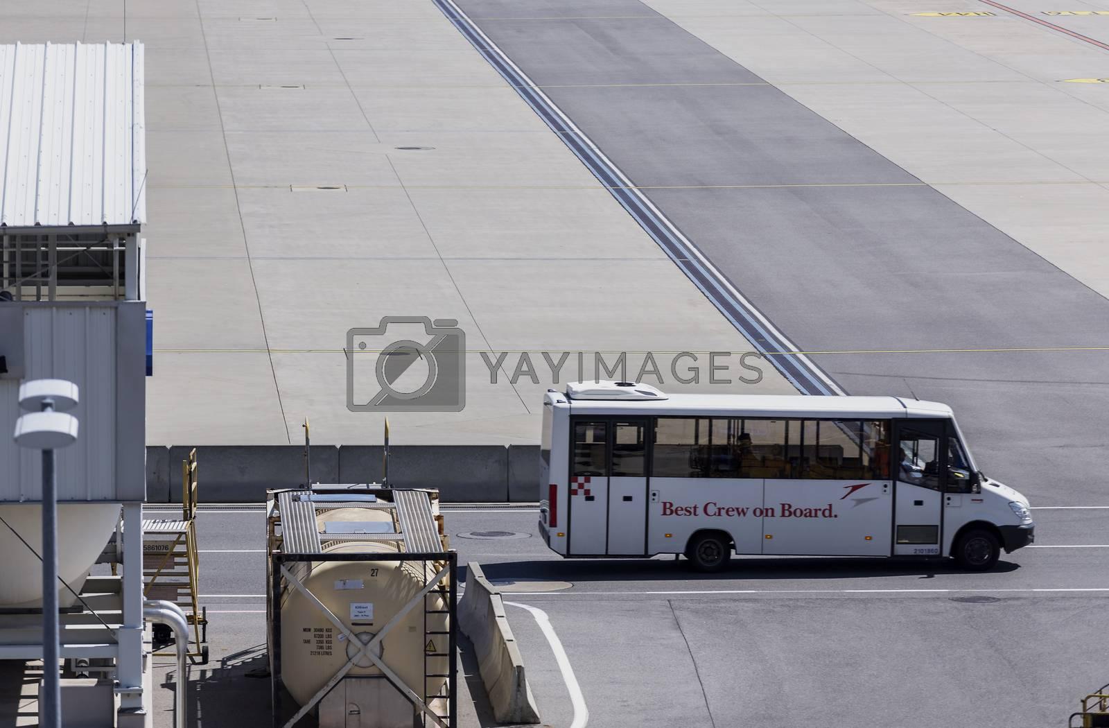 VIENNA, AUSTRIA – APRIL 30th 2016: Crew Transportation at Vienna International Airport.