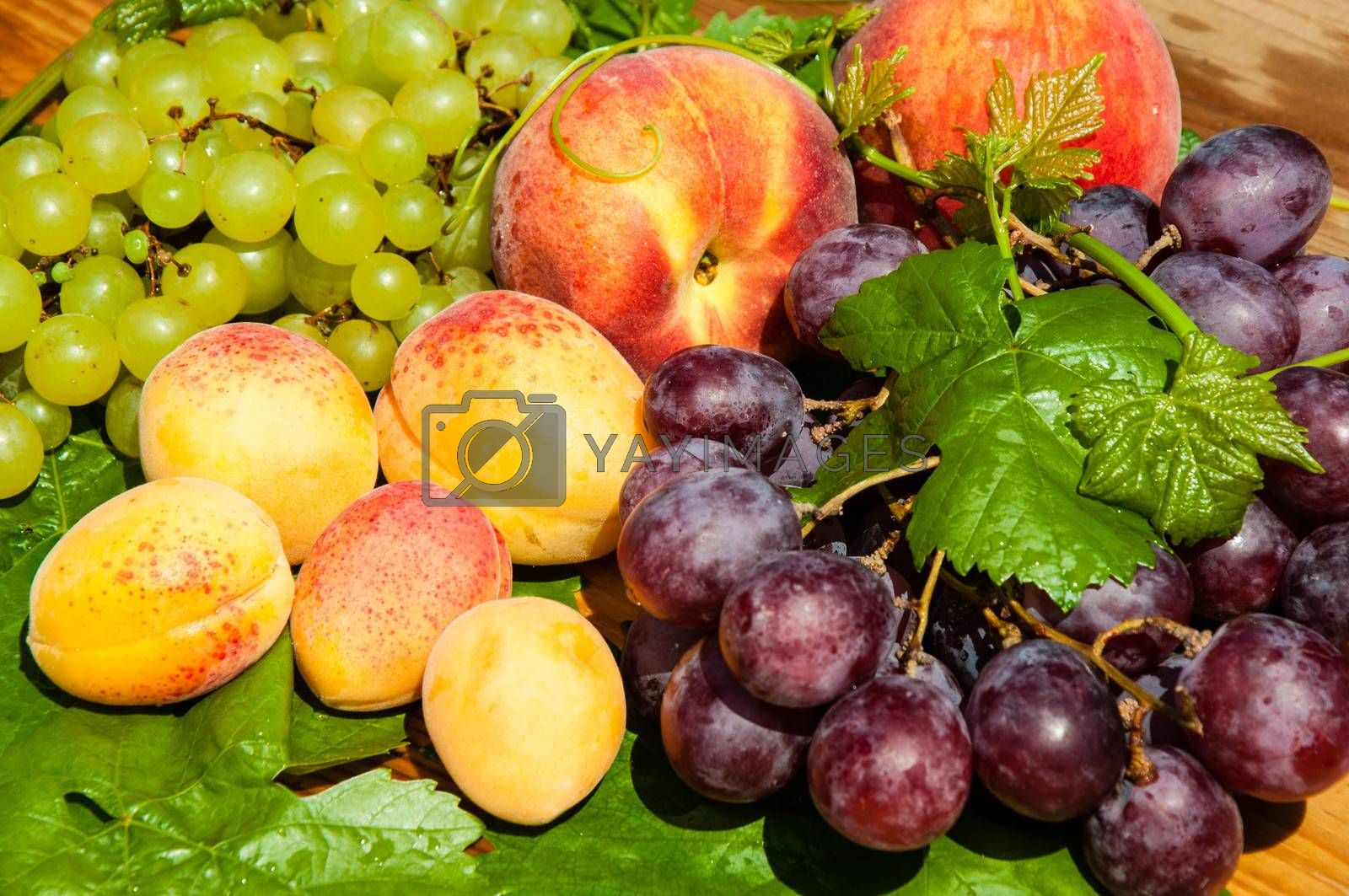 Ripe grapes and fruits on a wooden countertop