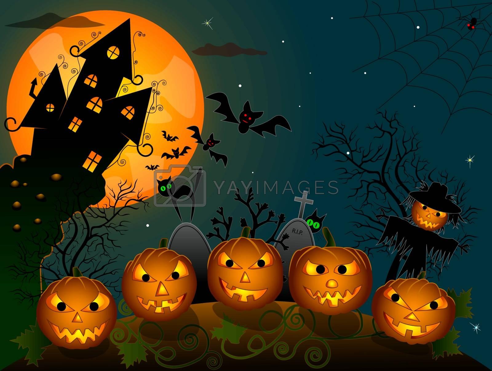 Cartoon halloween pumpkins and scarecrow. Halloween night.
