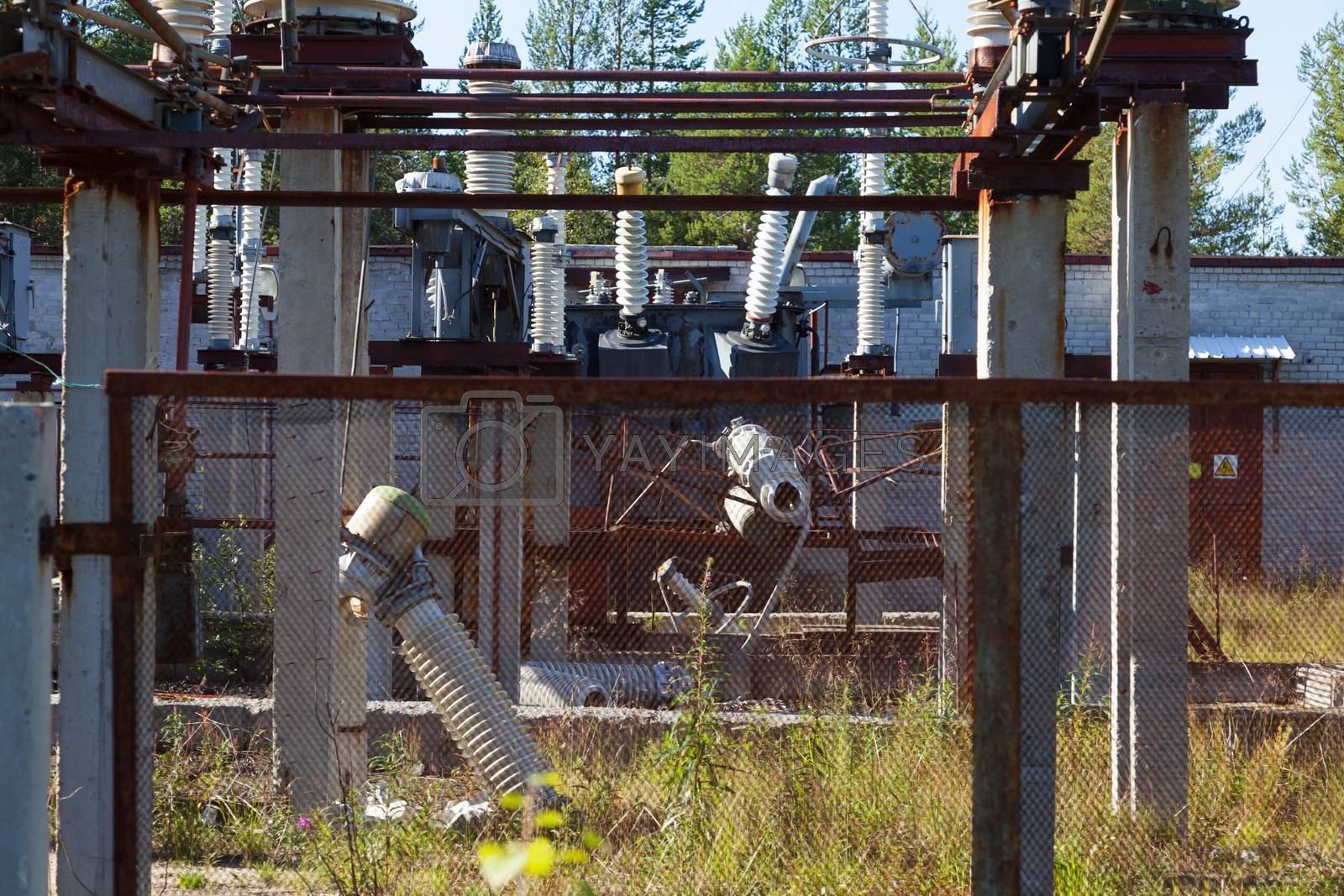 The destruction at the transformer substation as a result of a terrorist act