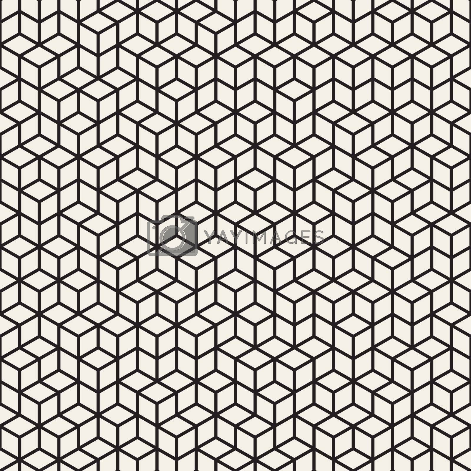 Vector Seamless Black and White Irregular Rhombus Grid Pattern. Abstract Geometric Background Design