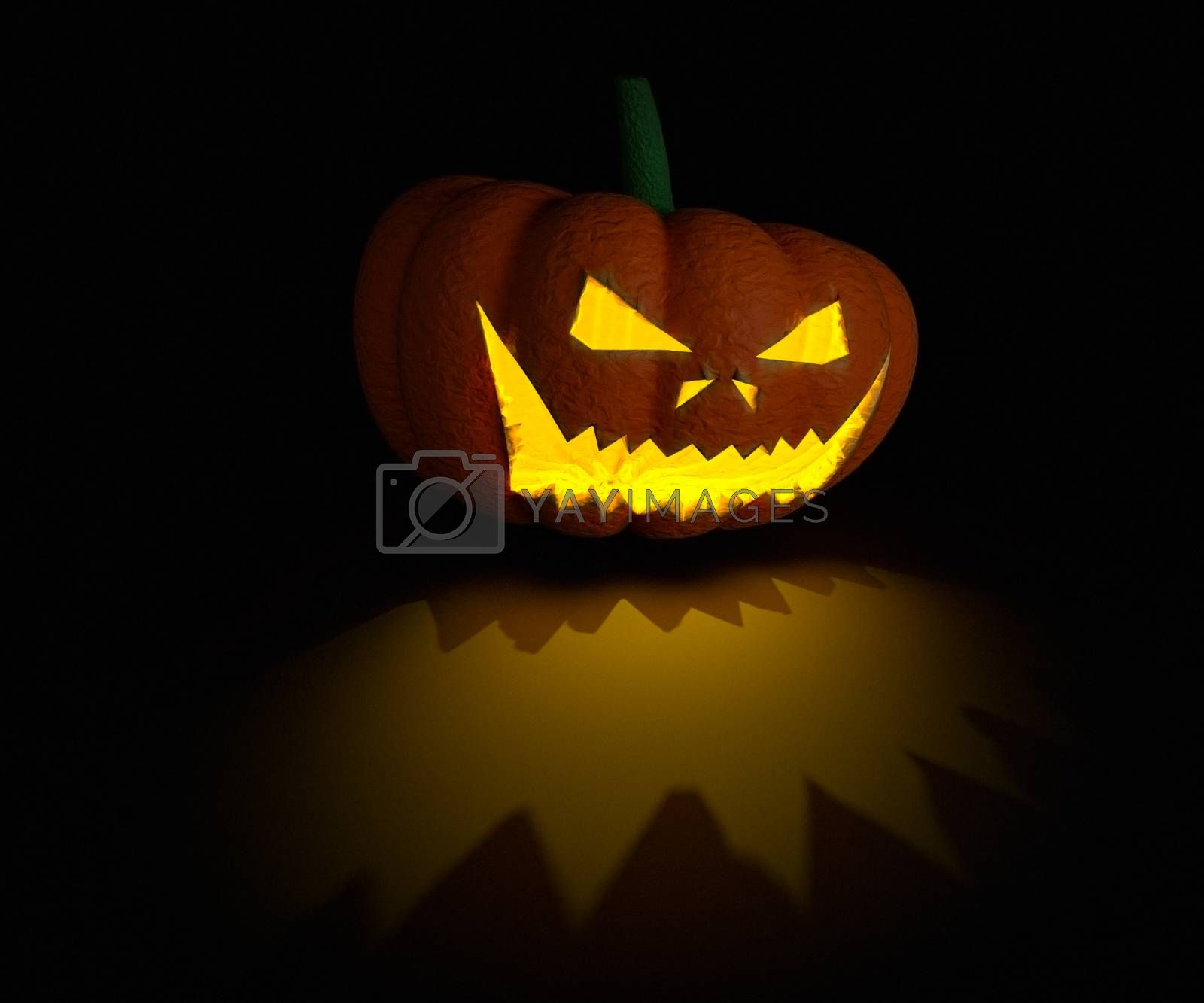 3d render pumpkin lamp on black surface with light and shadow details.