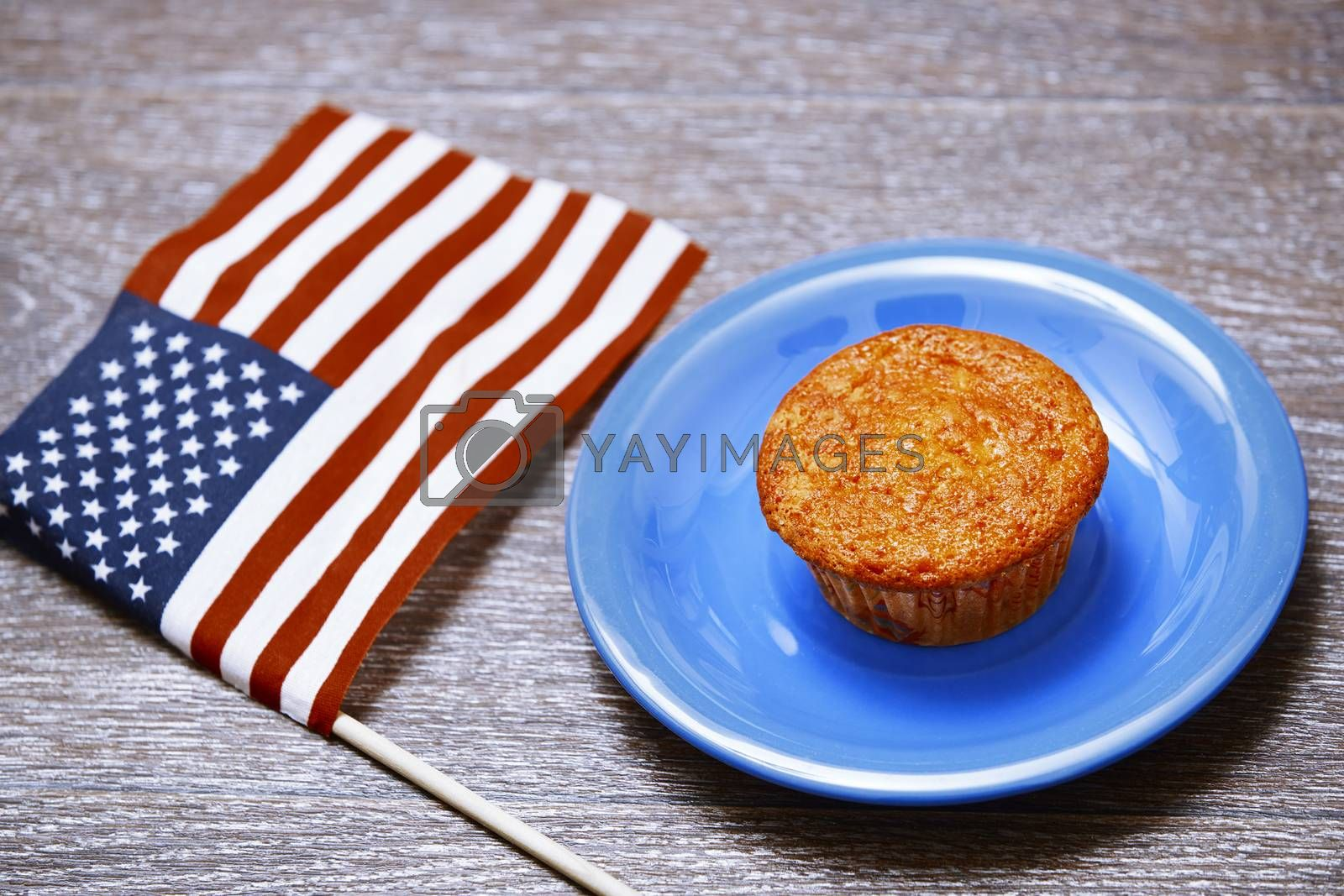 US flag and festive cake on a plate