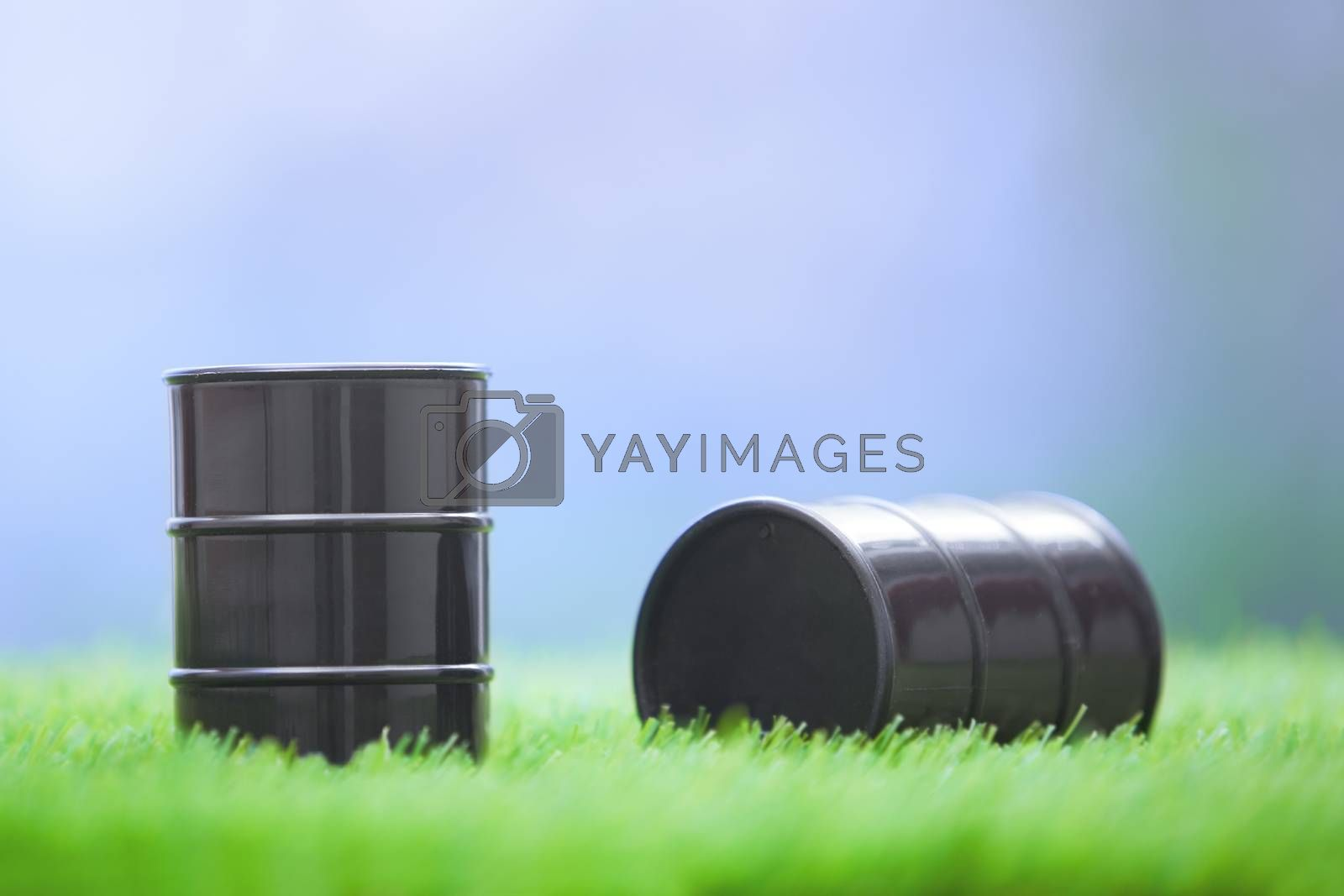Two oil barrels in the grassland. Horizontal photo