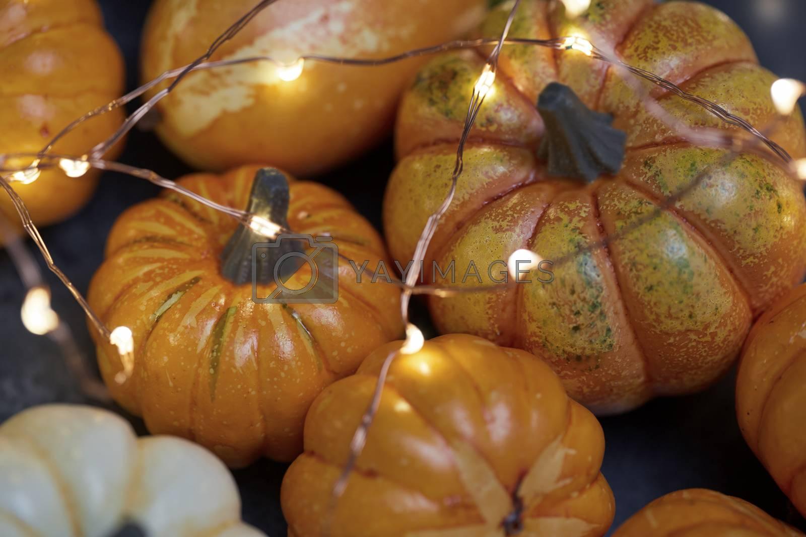 Halloween pumpkins with electric illumination
