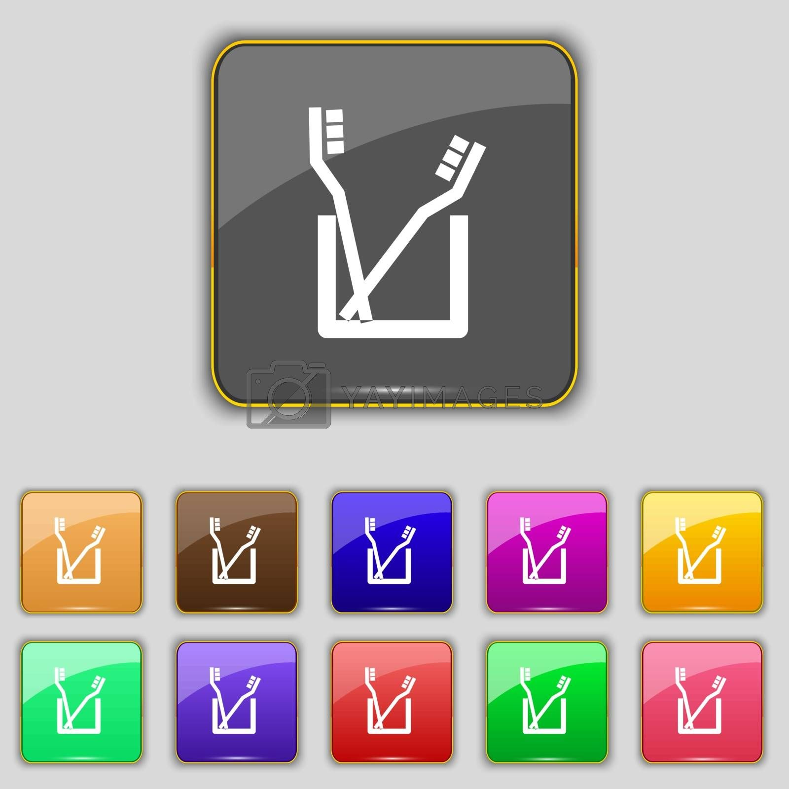 Toothbrush icon sign. Set with eleven colored buttons for your site. Vector illustration