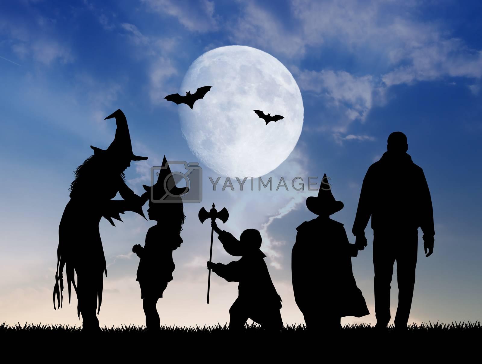 illustration of masked family for Halloween
