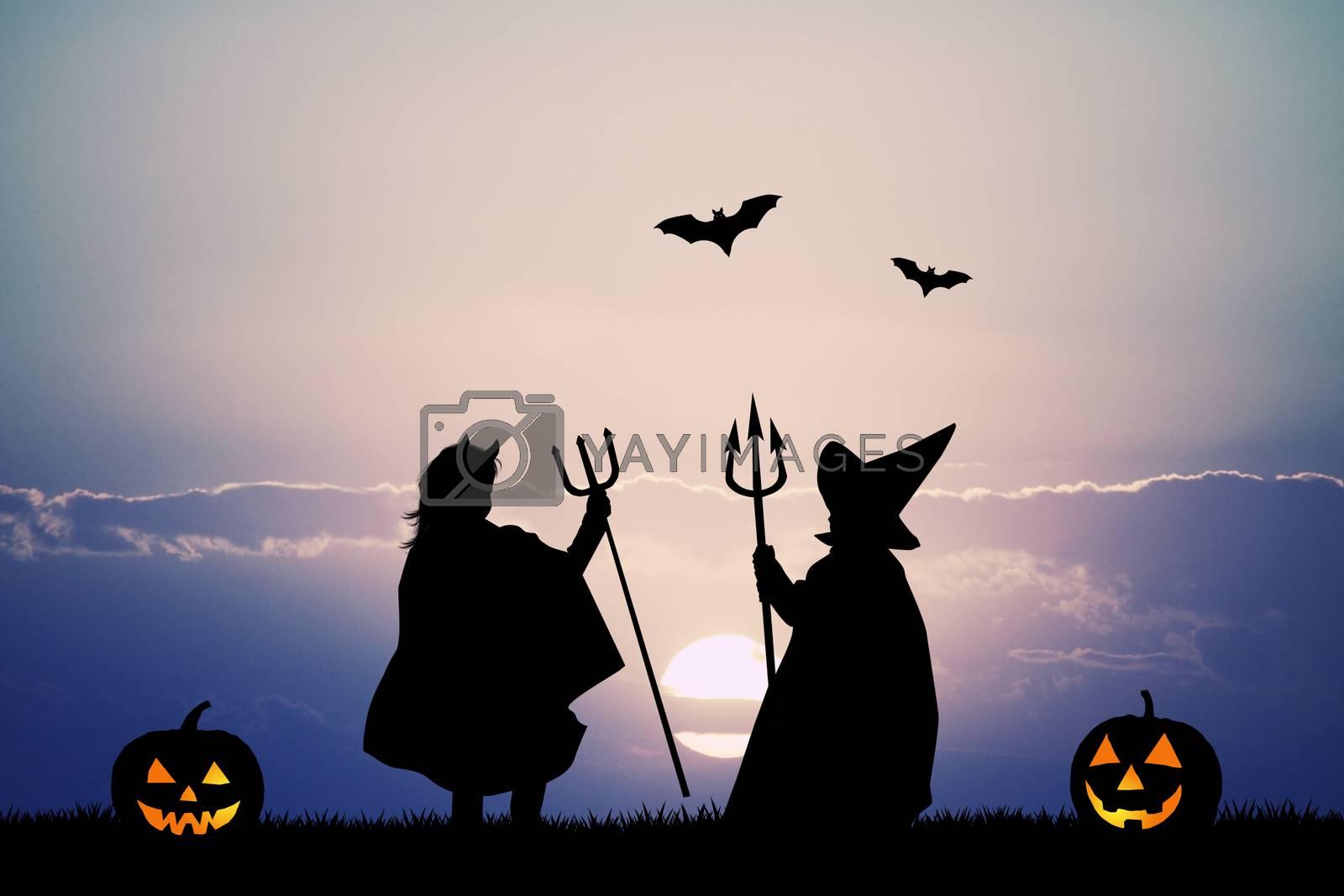 illustration of masked children for Halloween