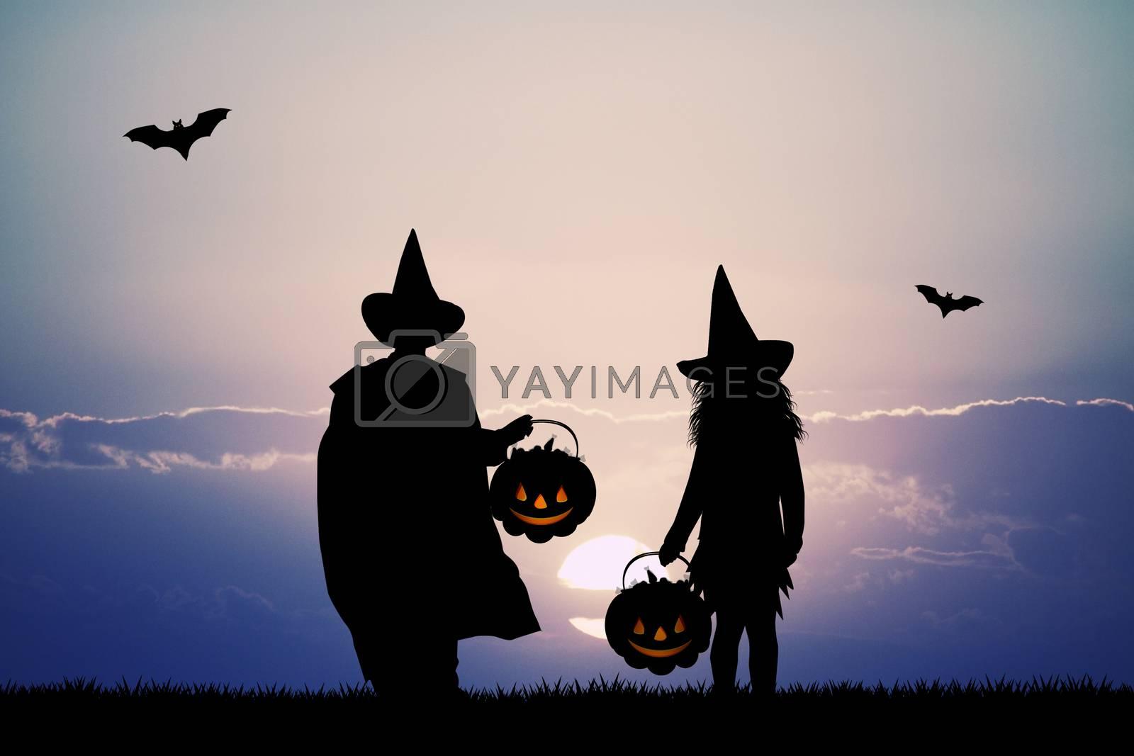 masked children for Halloween