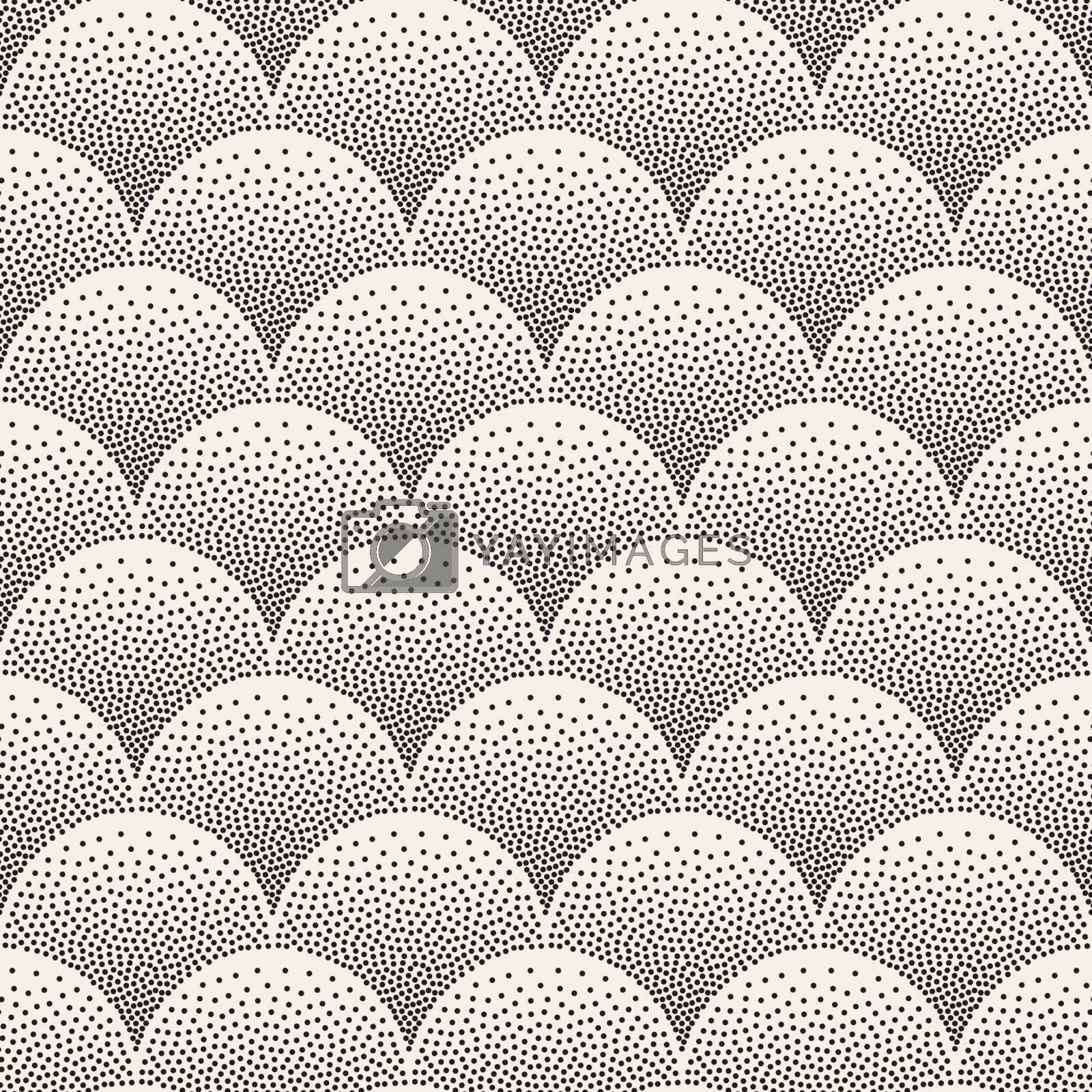 Vector Seamless Black and White Arc Shapes Stippling Pattern. Abstract Dotwork Background Design