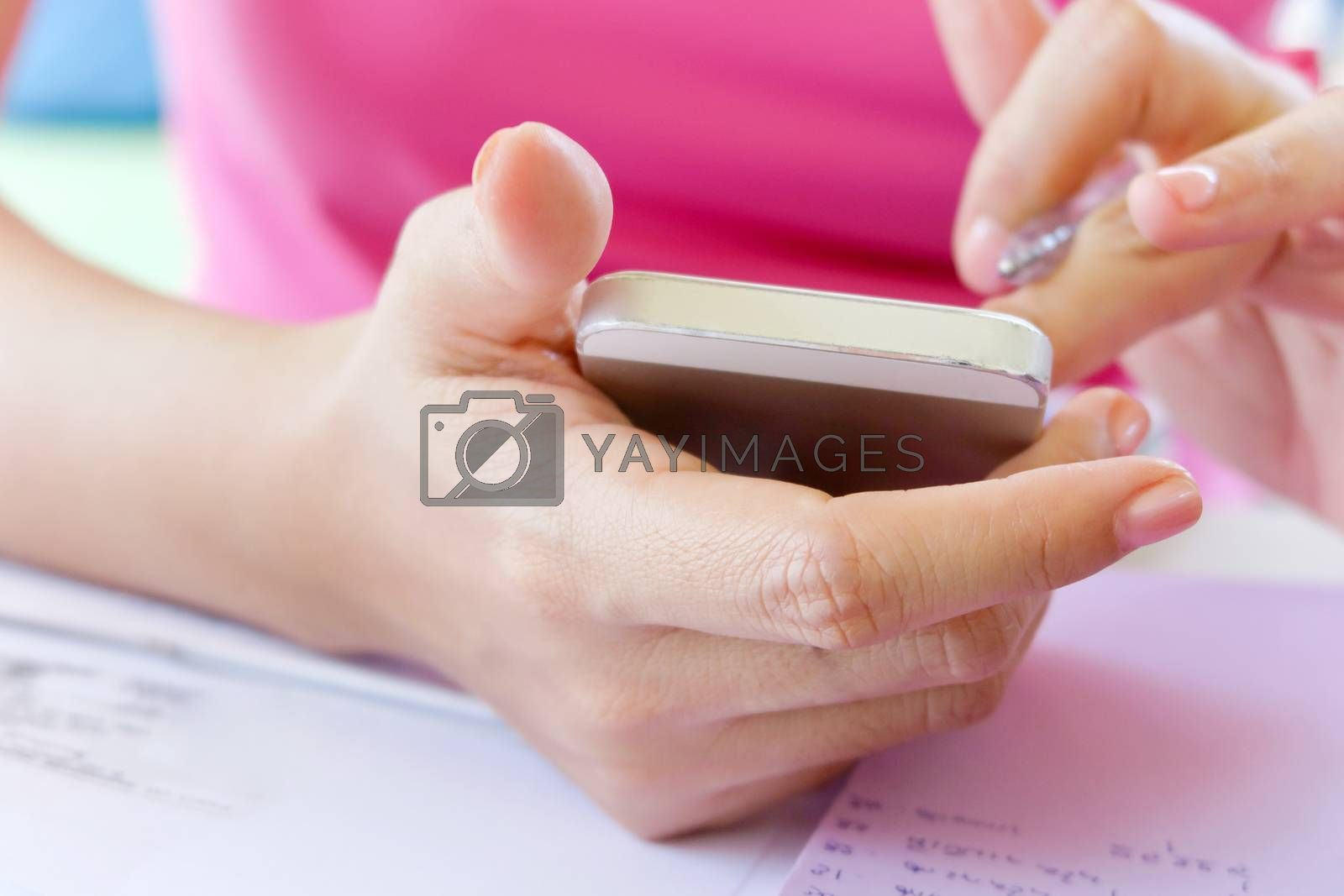 close up image of people using smart phone, communication
