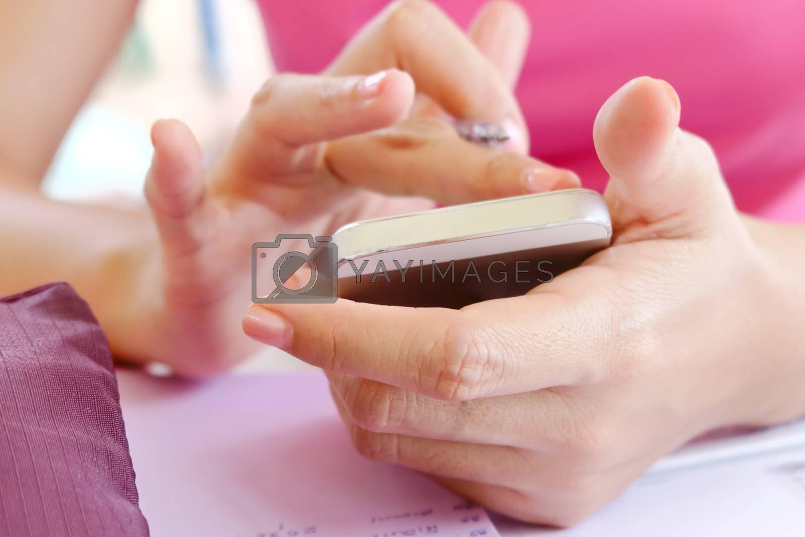 close up image of people using smart phone, communication