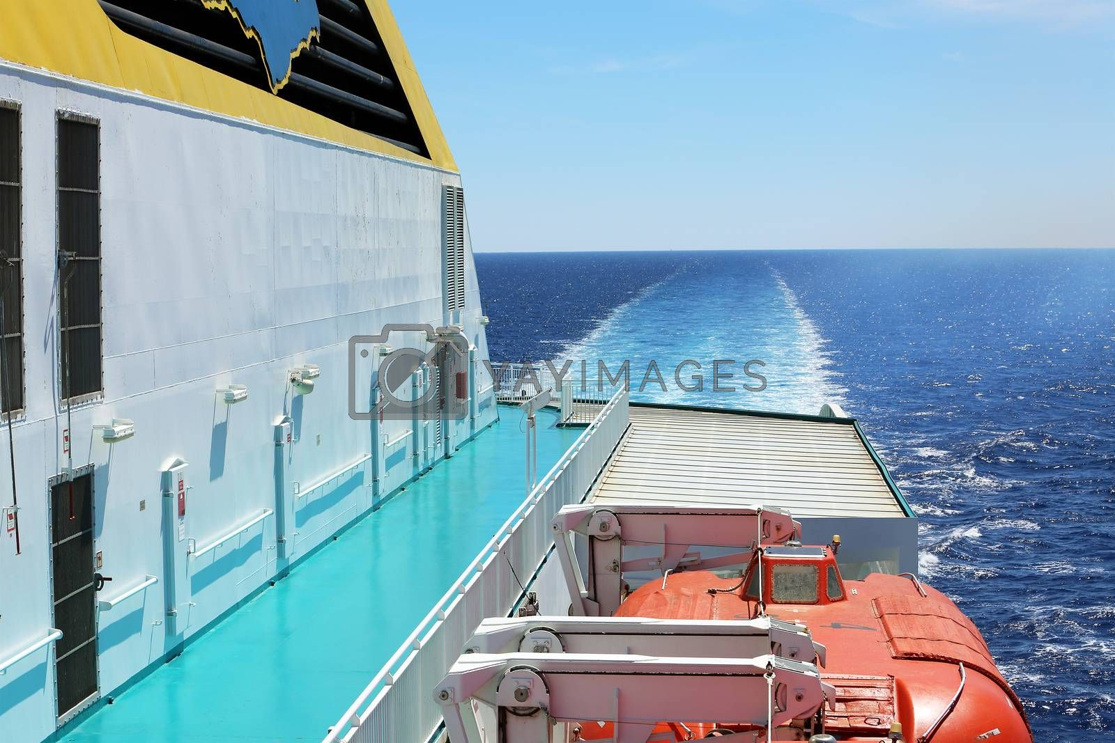 Igoumenitsa, Greece - August 3, 2016: Ferry Deck View With Life Boats of a Hellenic Spirit Ferry, Anek Company. Anek Lines Is The Largest Passenger Shipping Company In Greece