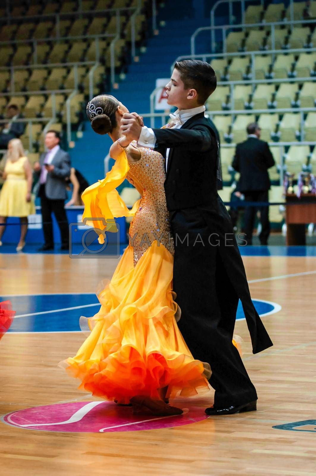 Orenburg, Russia - 24 May 2015: Girl and boy dancing on City Championship of in sports dancing