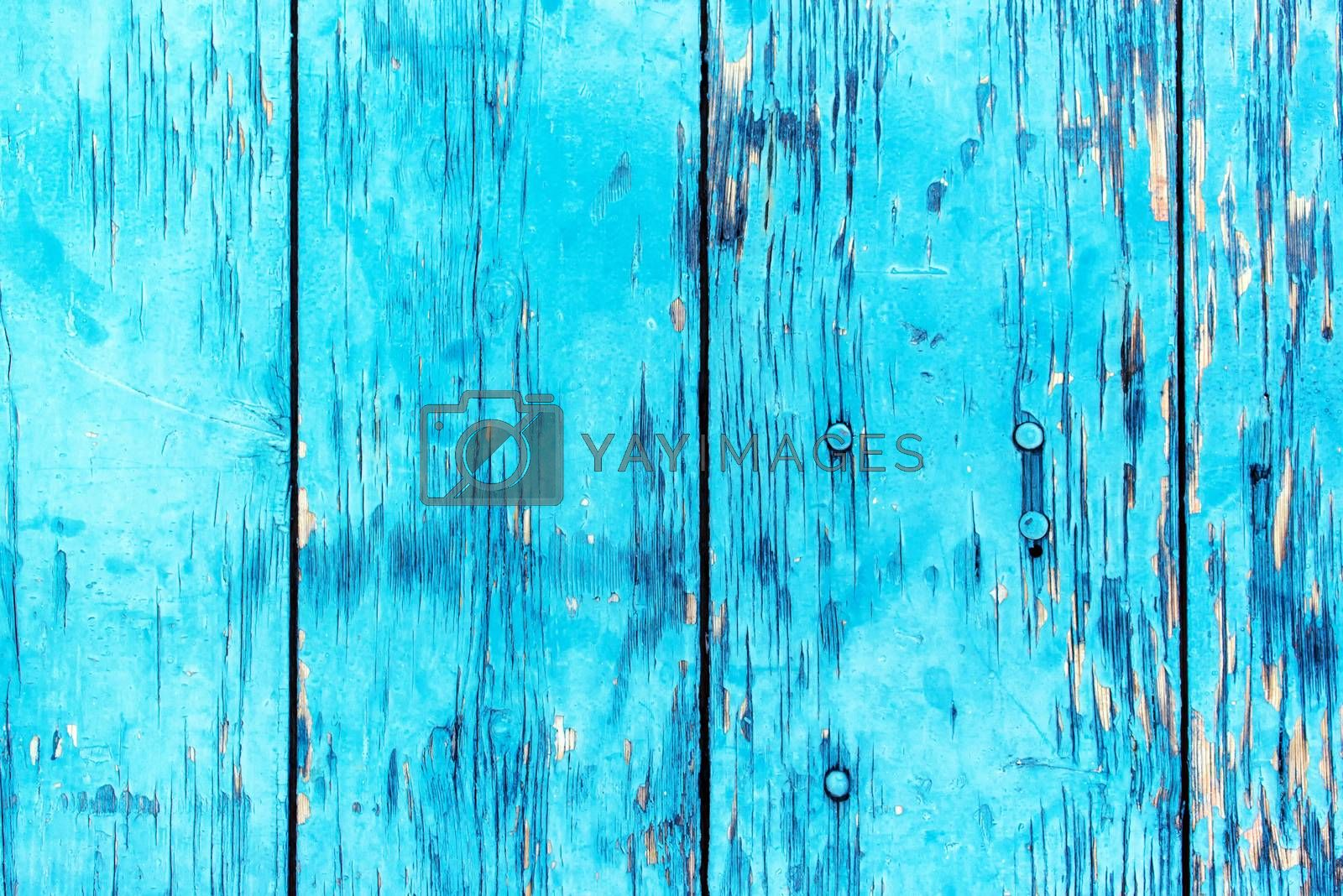 Blue planks background, abstract texture of rustic wooden boards