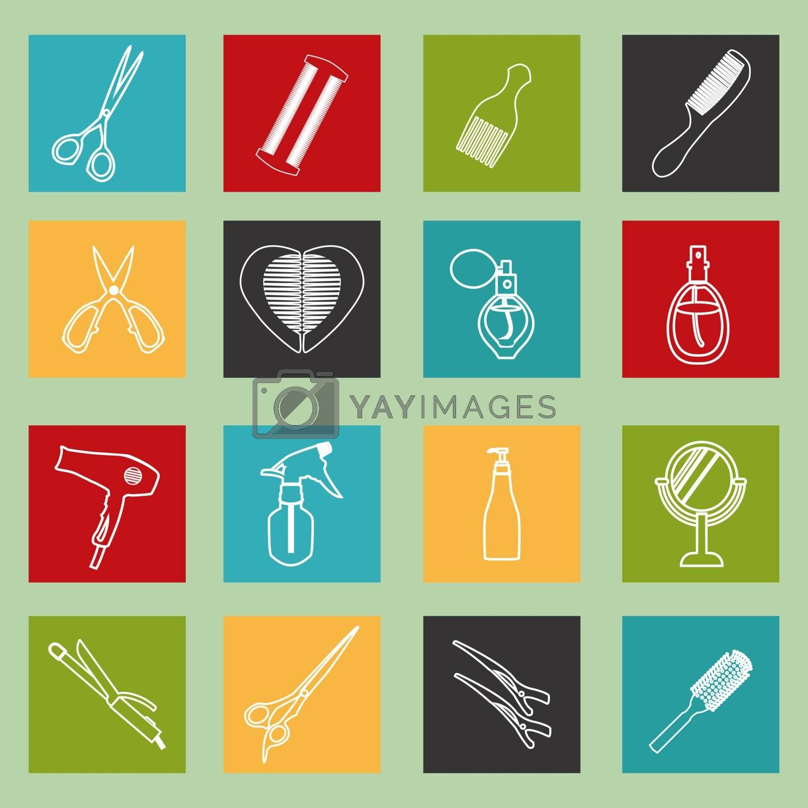 haircutting tool icons  outlined  Design ELements Barbershop objects