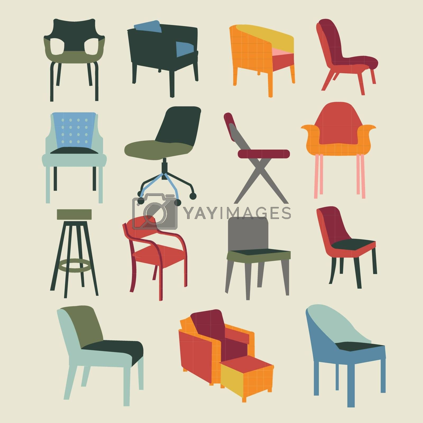 Set icons of chairs interior furniture icon-illustration