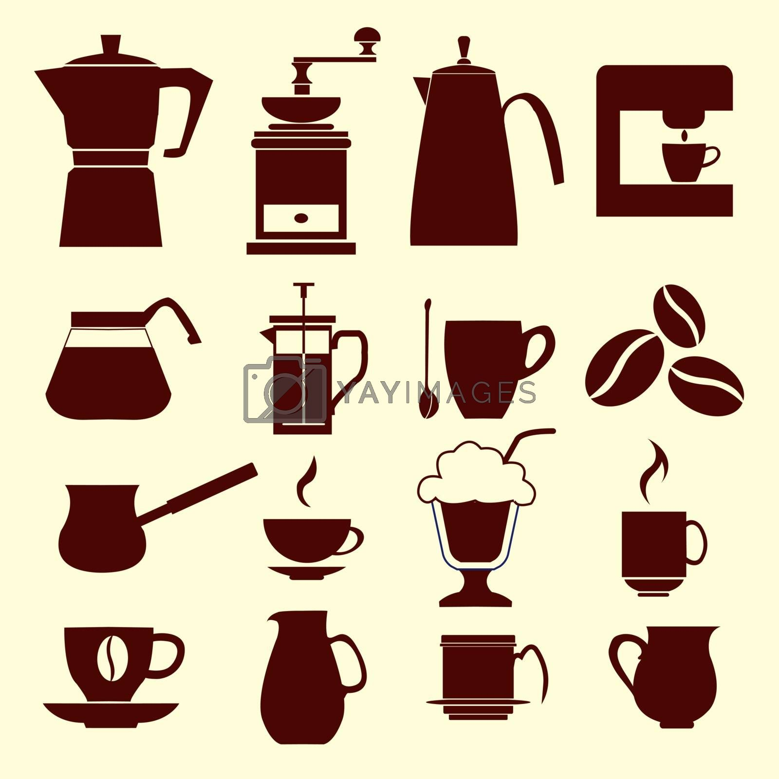Coffee icons Set icons of collection Coffee silhouette