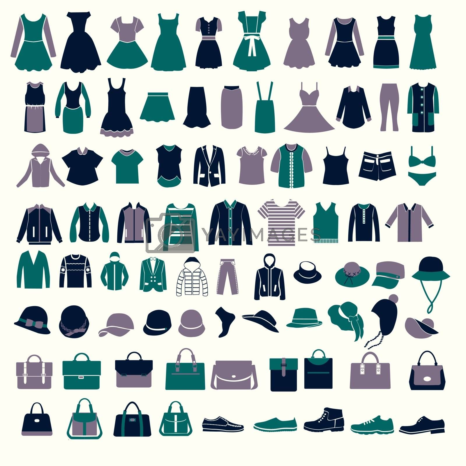 vector set silhouettes of fashion Collection Men's and Women Clothes and bags set of of Fashion elements
