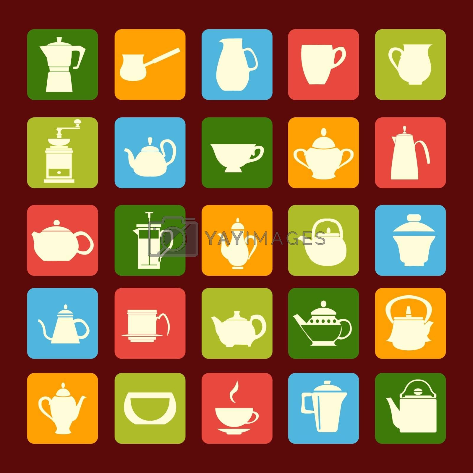 Vector different icons of Tea sets  Silhouettes Coffee and Tea Pots with Cups. Coffee and tea time