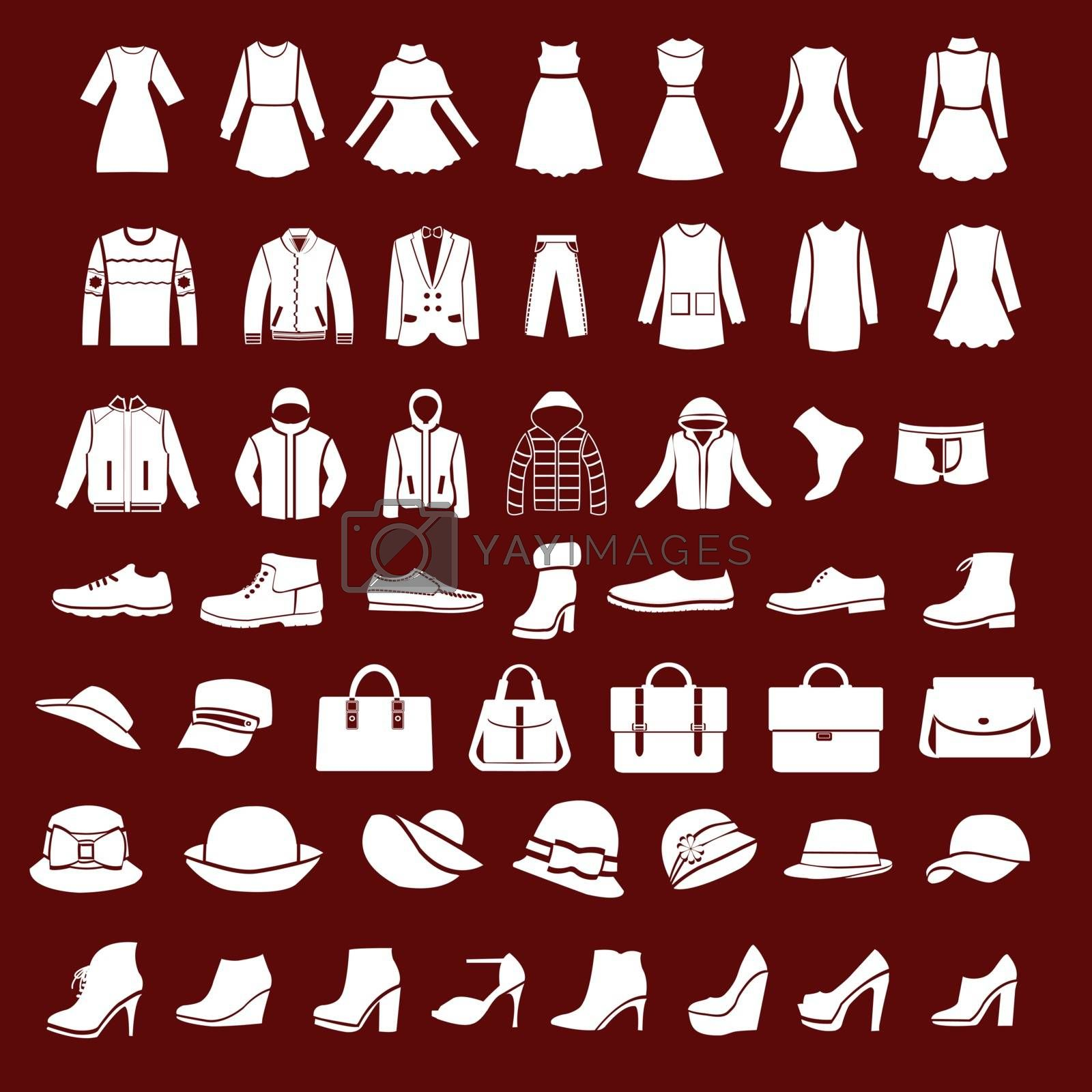 Set icons of women fashion dresses and men clothing , shoes and hats  silhouette