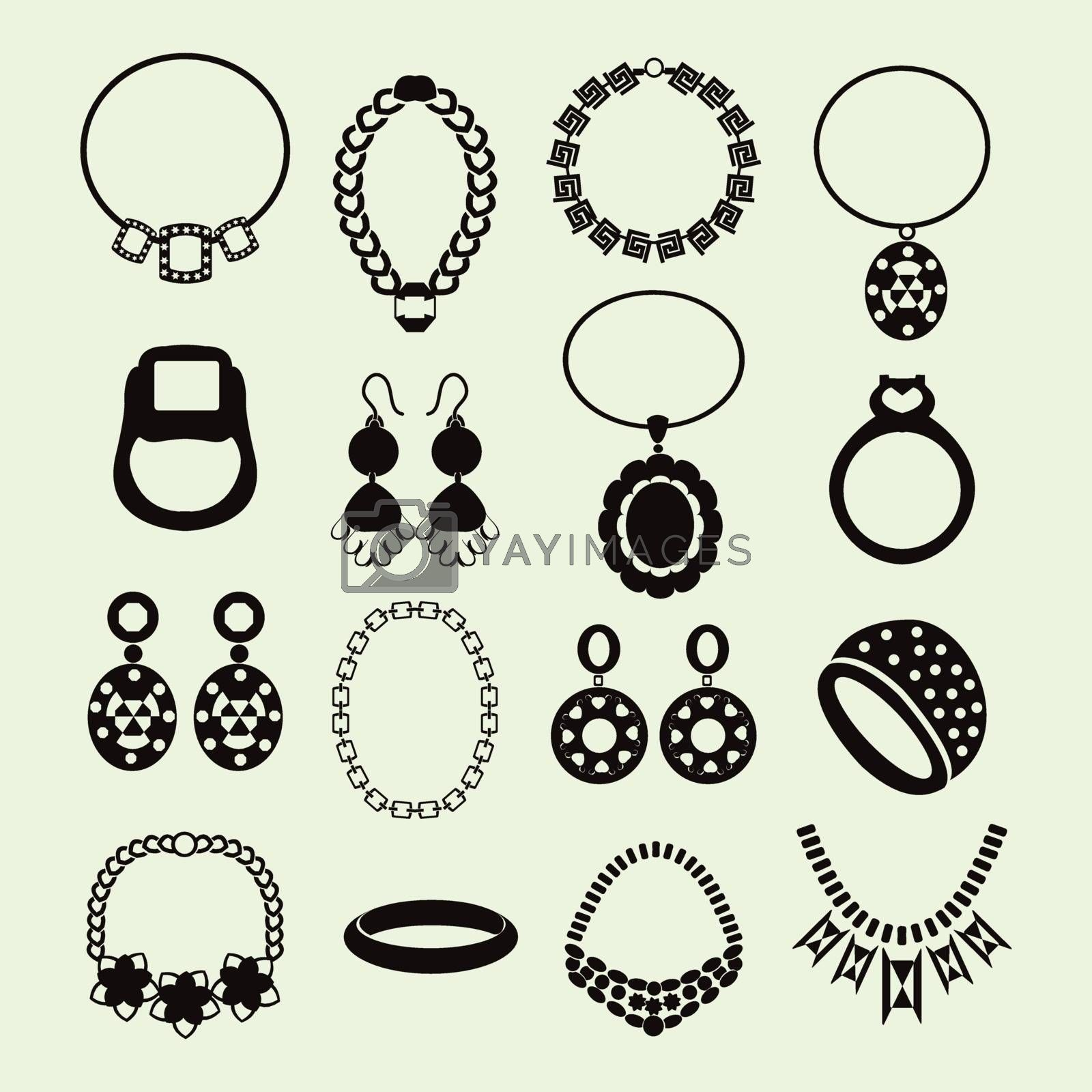 vector jewelry icons set women accessories - Illustration