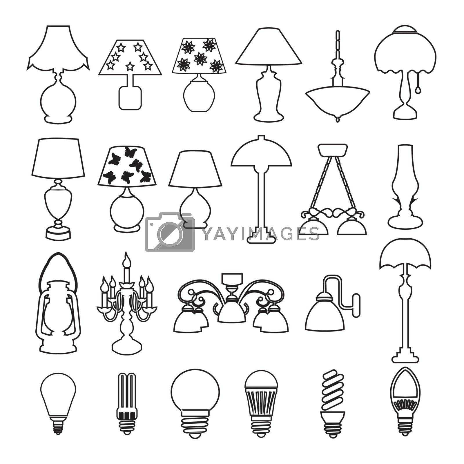 Collection of different lamp silhouettes lamps and light bulb set icons
