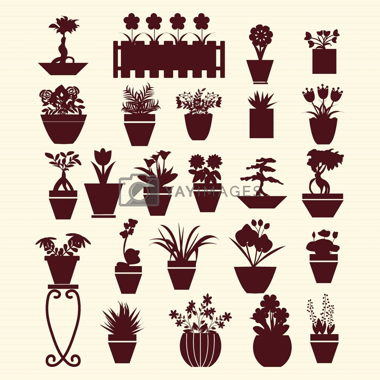 icons set of  pot plants  garden flowers  and  herbs in silhouette