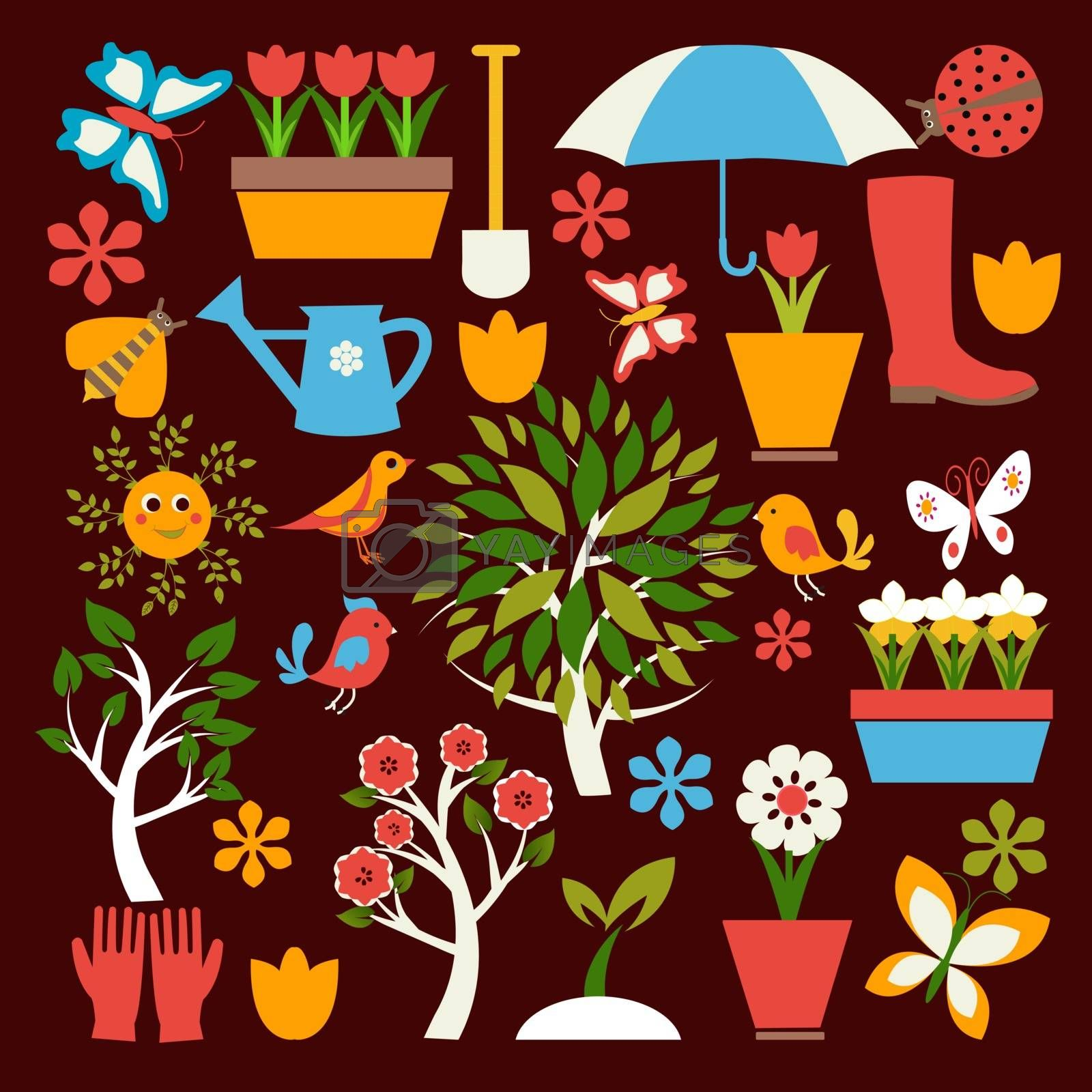 collection Set icons of gardening and spring related items For Web