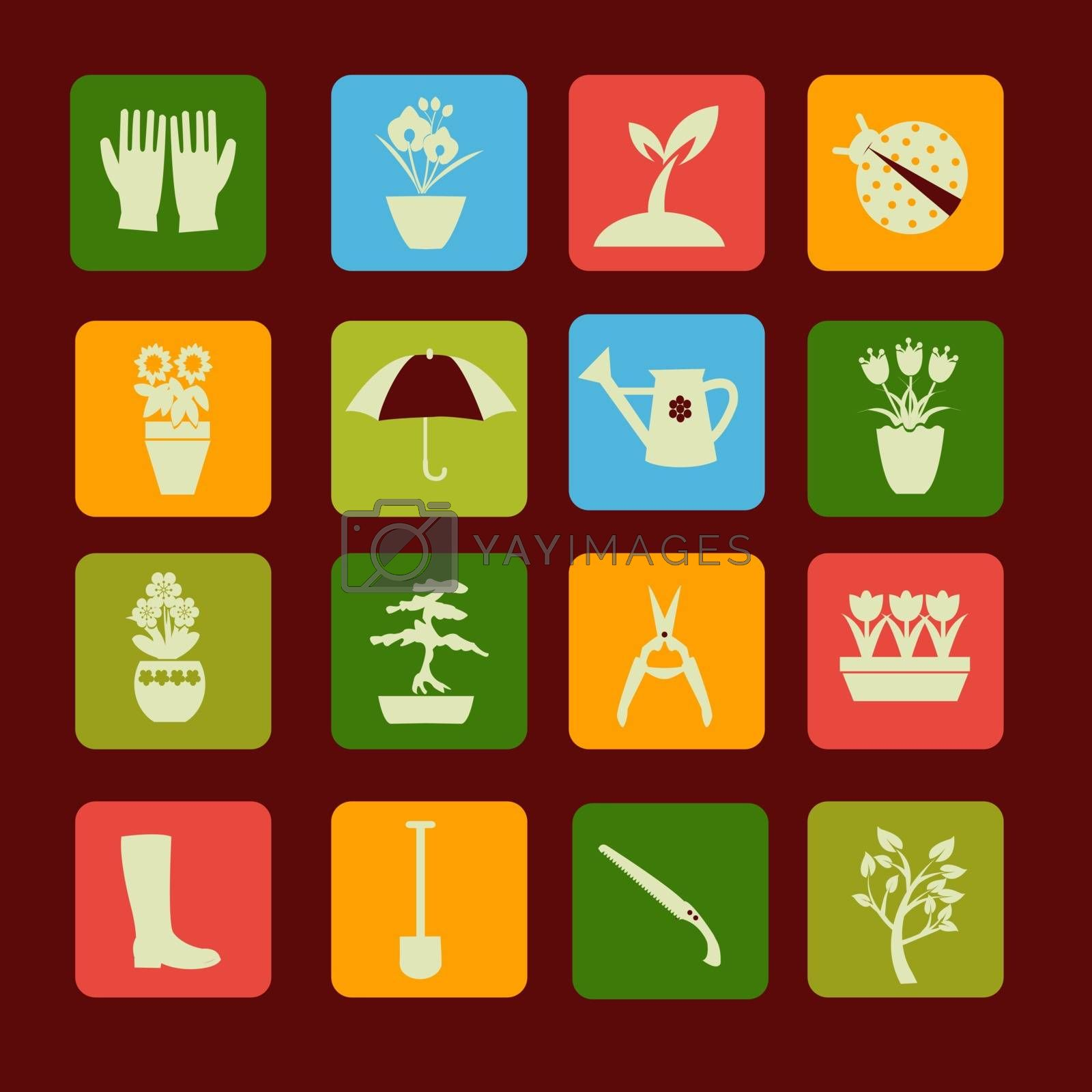 collection Set icons of gardening and spring related items  - Illustration