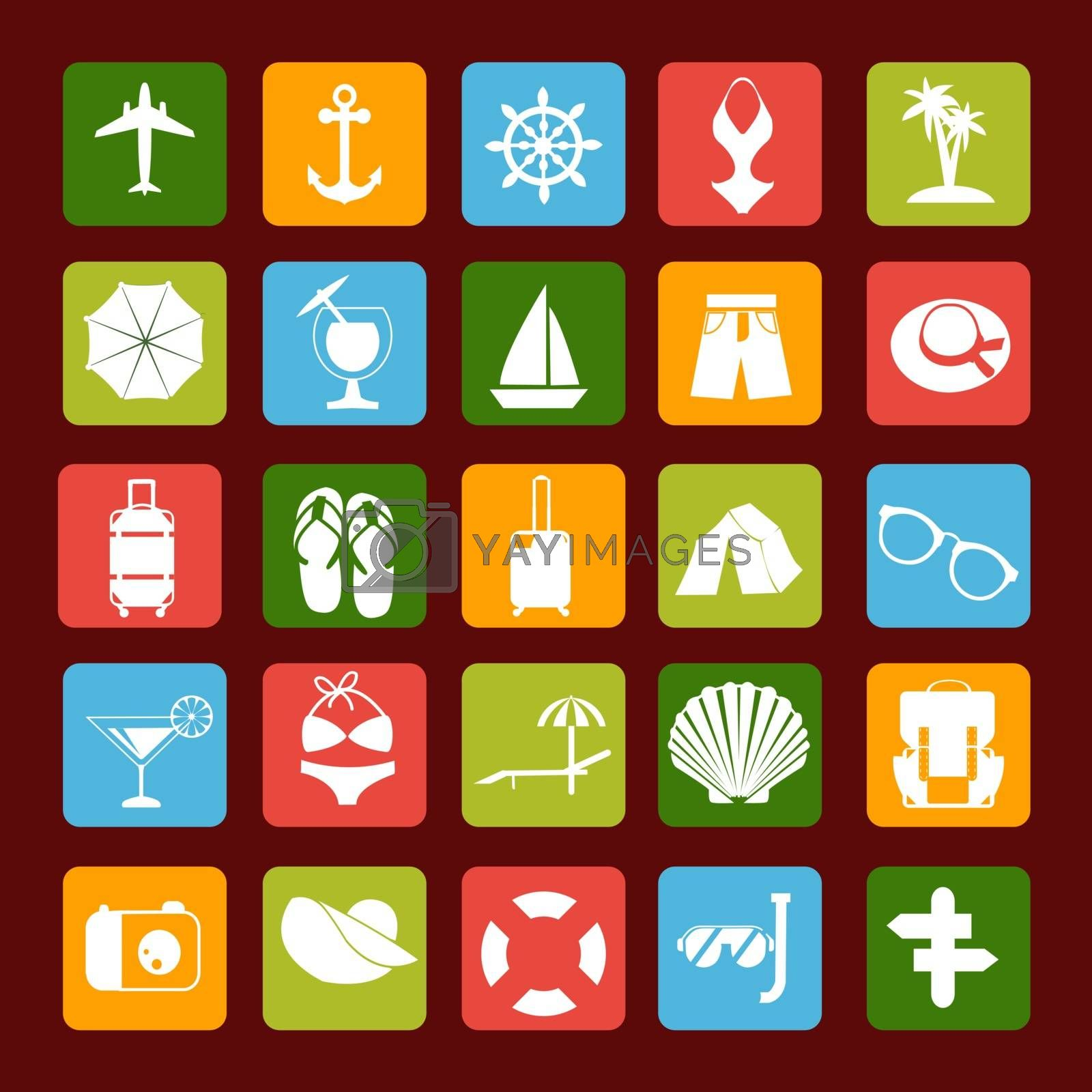 Travel and Vacation vector icons in white - Illustration