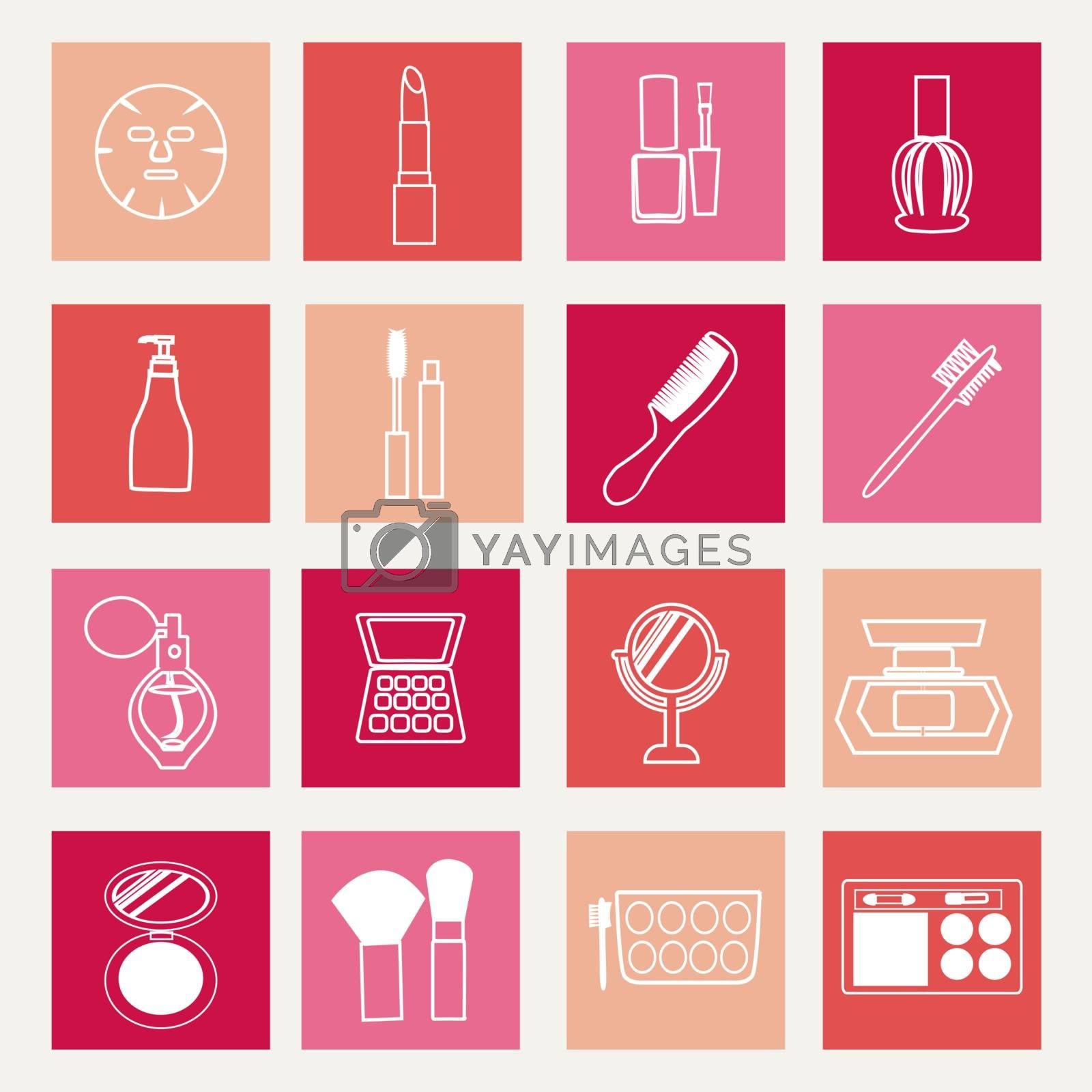 set of make up Cosmetics theme icons - Illustration