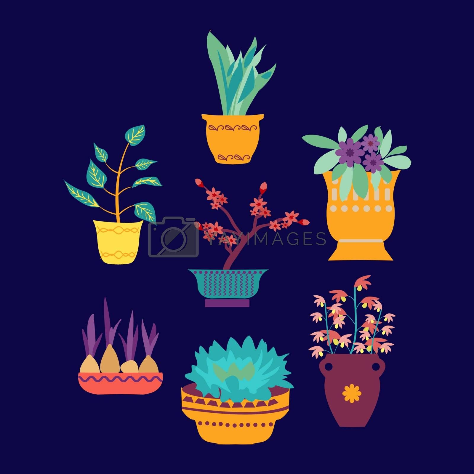 vector set of cute house plants in pots hand-drawing in cartoon style-botanical set