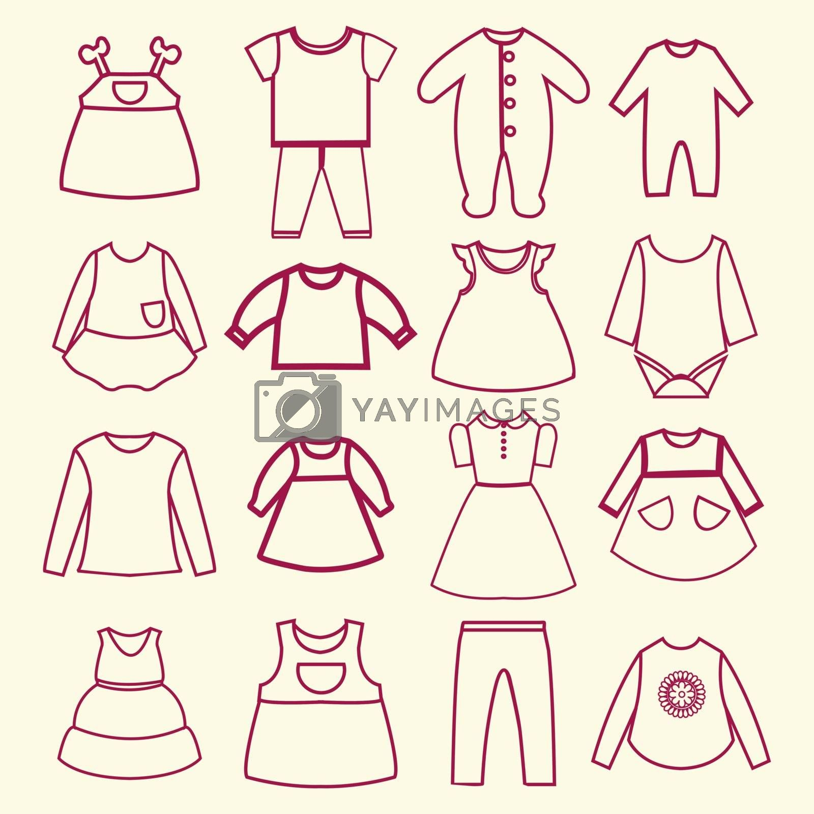 Set of  baby and children clothes collection outline icons in linear style -illustration