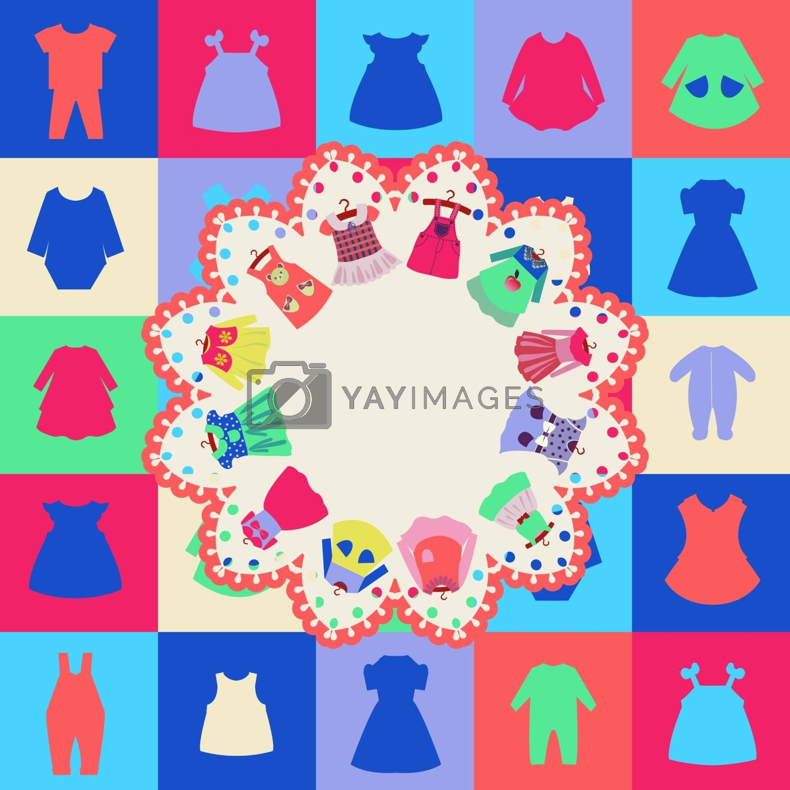 Vector icons Set and background of Fashion girl dresses. Clothes for children- illustration