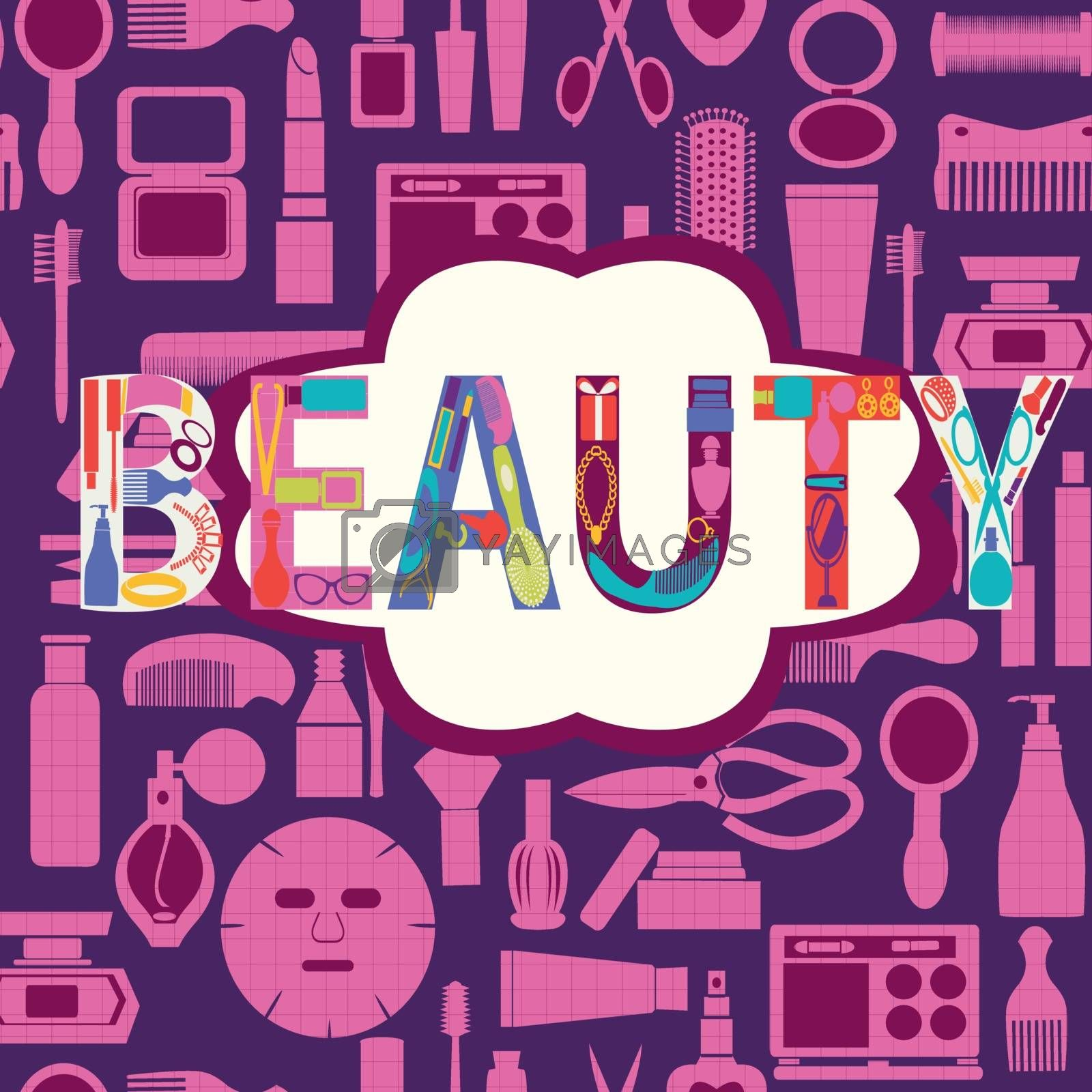 Vector pattern of makeup cosmetic and beauty silhouettes set icon background - Illustration
