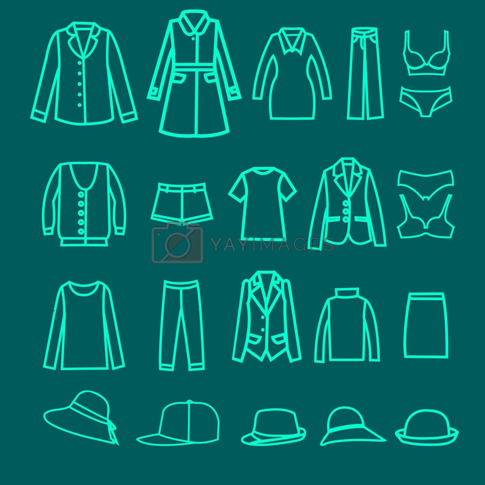 Vector  Fashion  clothes collection woman cloth and accessoreis - Illustration.