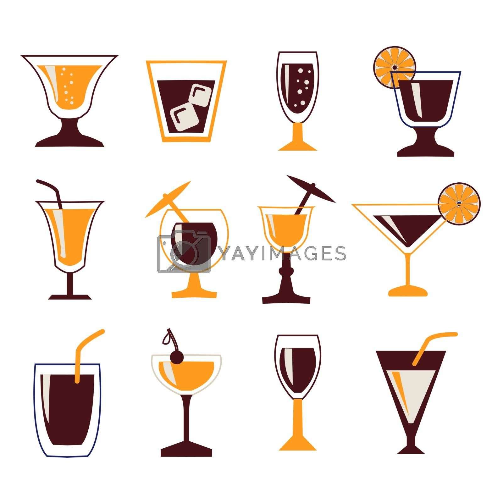 vector set silhouettes of Cocktail glasses. Drinks icon set
