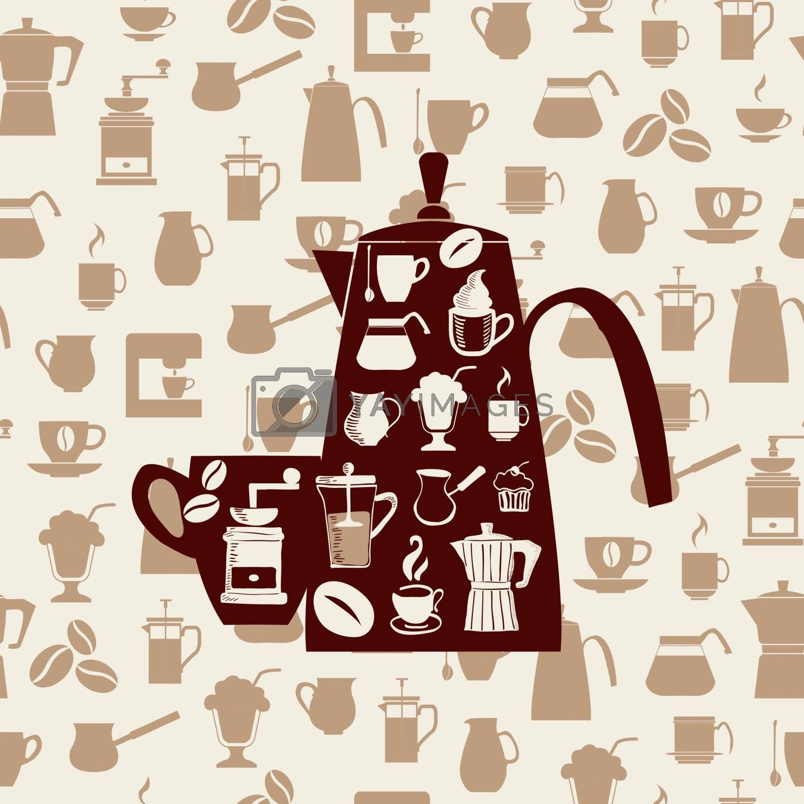 Vector background with Coffee icons Set.Coffee icons silhouette -illustrtion