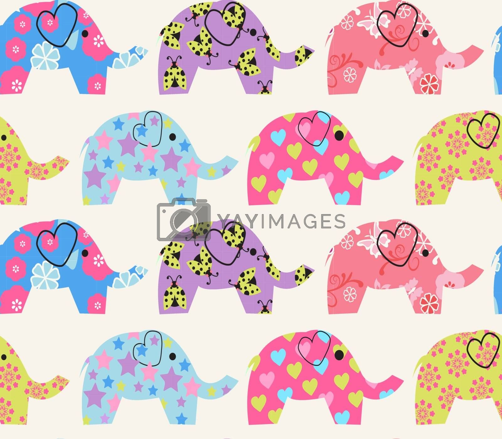 Vector  Cheerful Seamless Pattern with colorful elephant  - Illustration