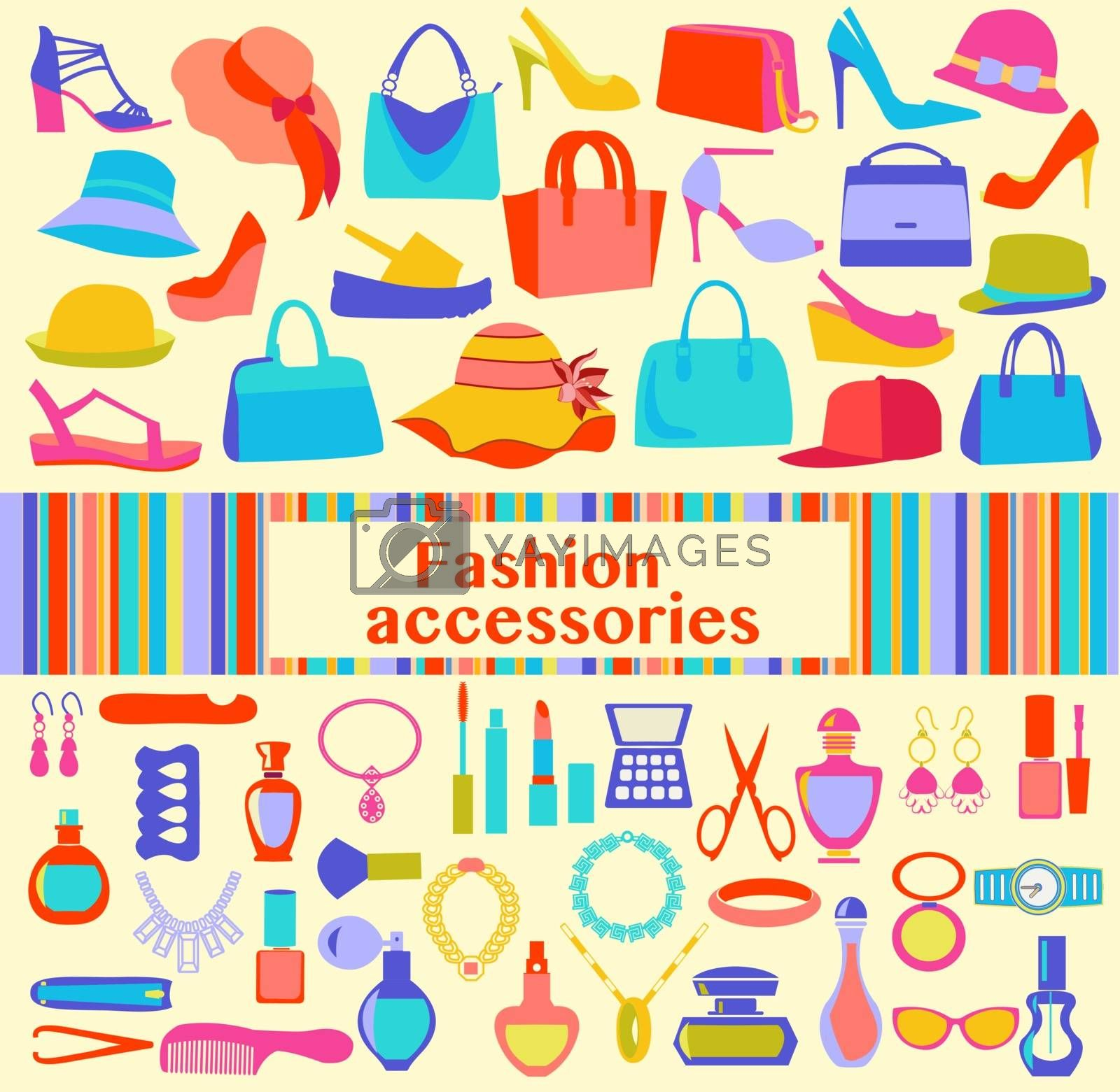 Fashion and beauty women accessories, icons - Illustration. Background  of  fashion Women accessories