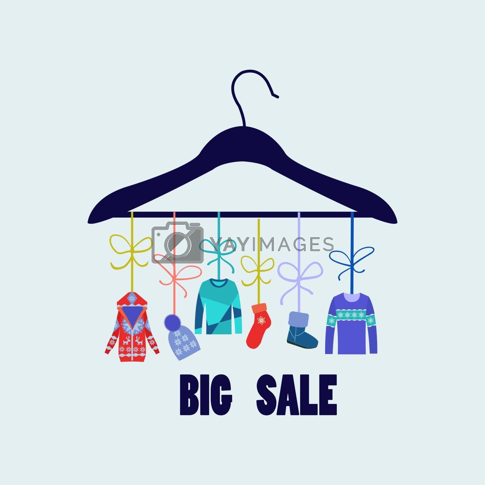 Vector Background of Hanger with fashion winter clothing by Margolana