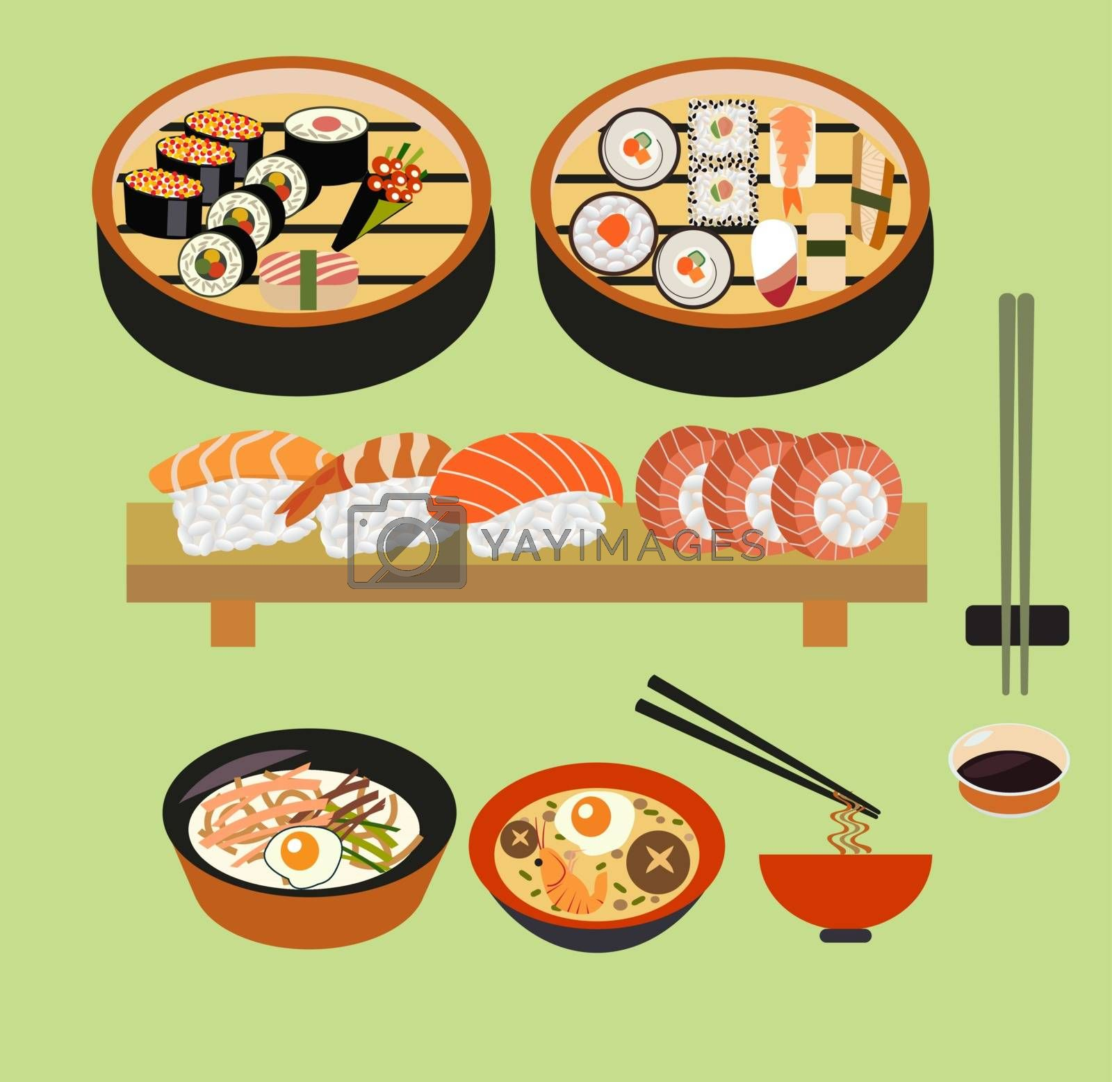 Vector food- Japanese food , Japanese dishes , Sushi set- Illustration